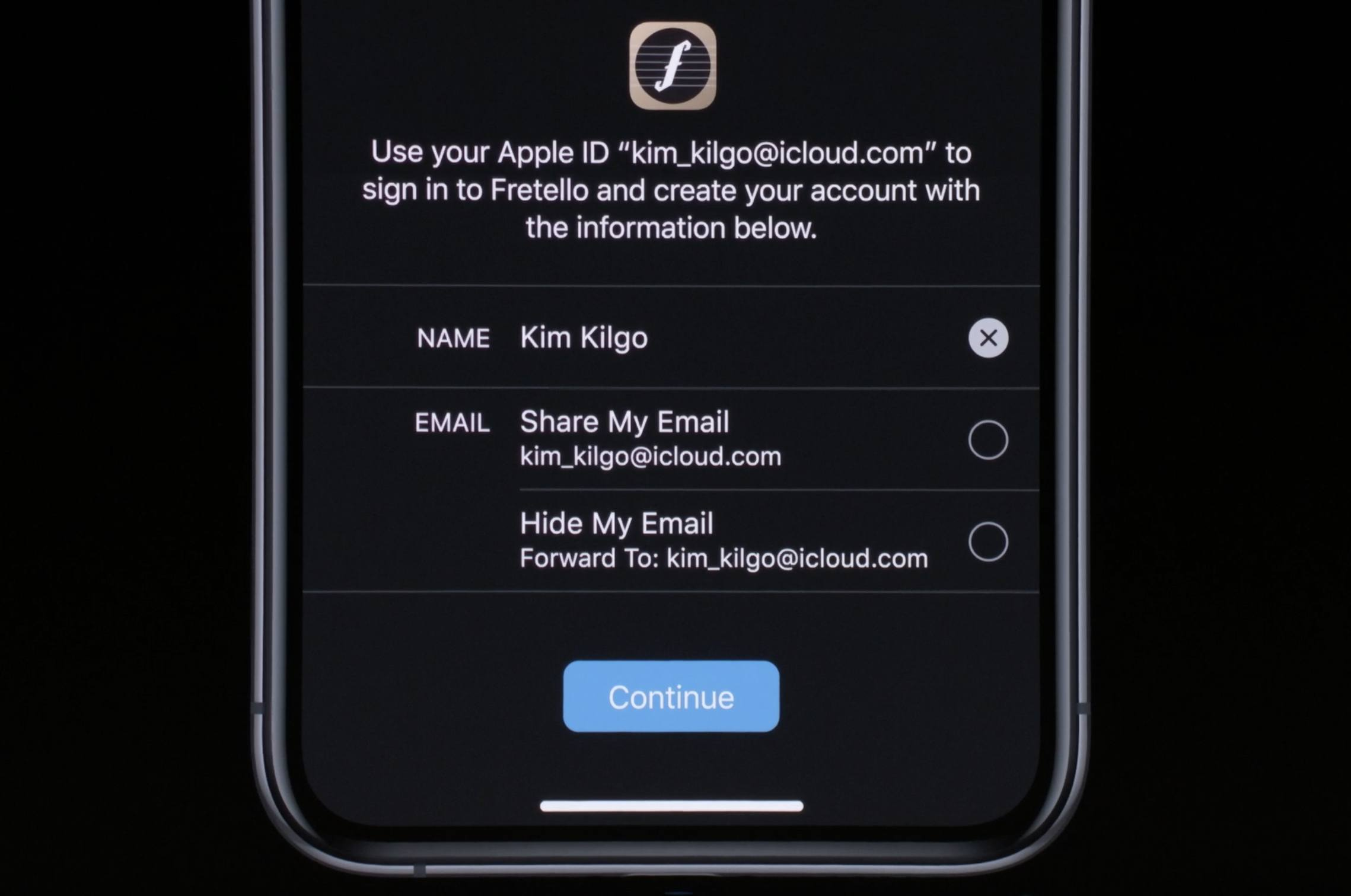 Email sharing options for Sign In with Apple.