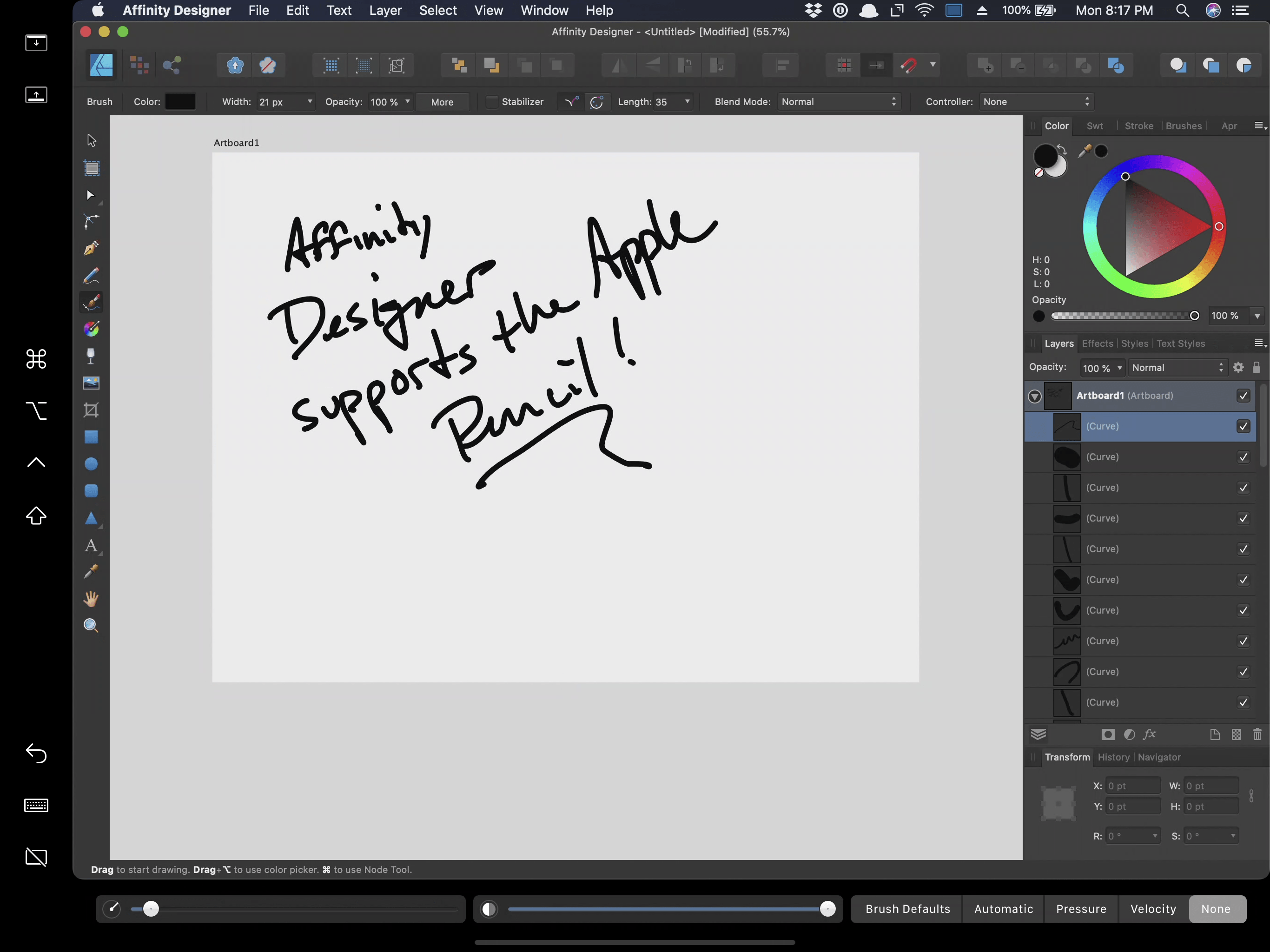 The Apple Pencil can be used to draw in Mac apps that have tablet support like Affinity Designer.