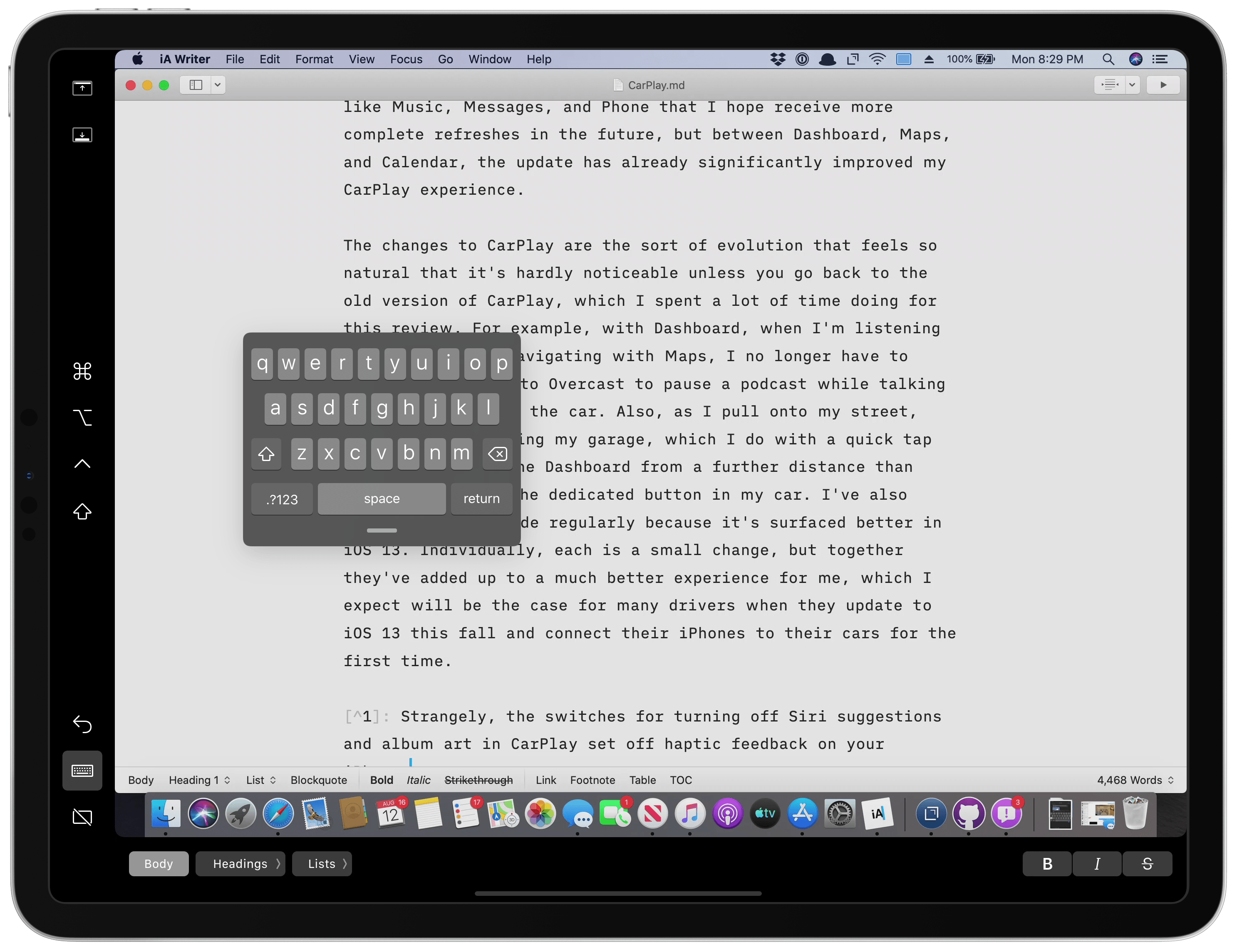 Sidecar can display an iPhone-sized floating keyboard that hovers over your Mac's UI.