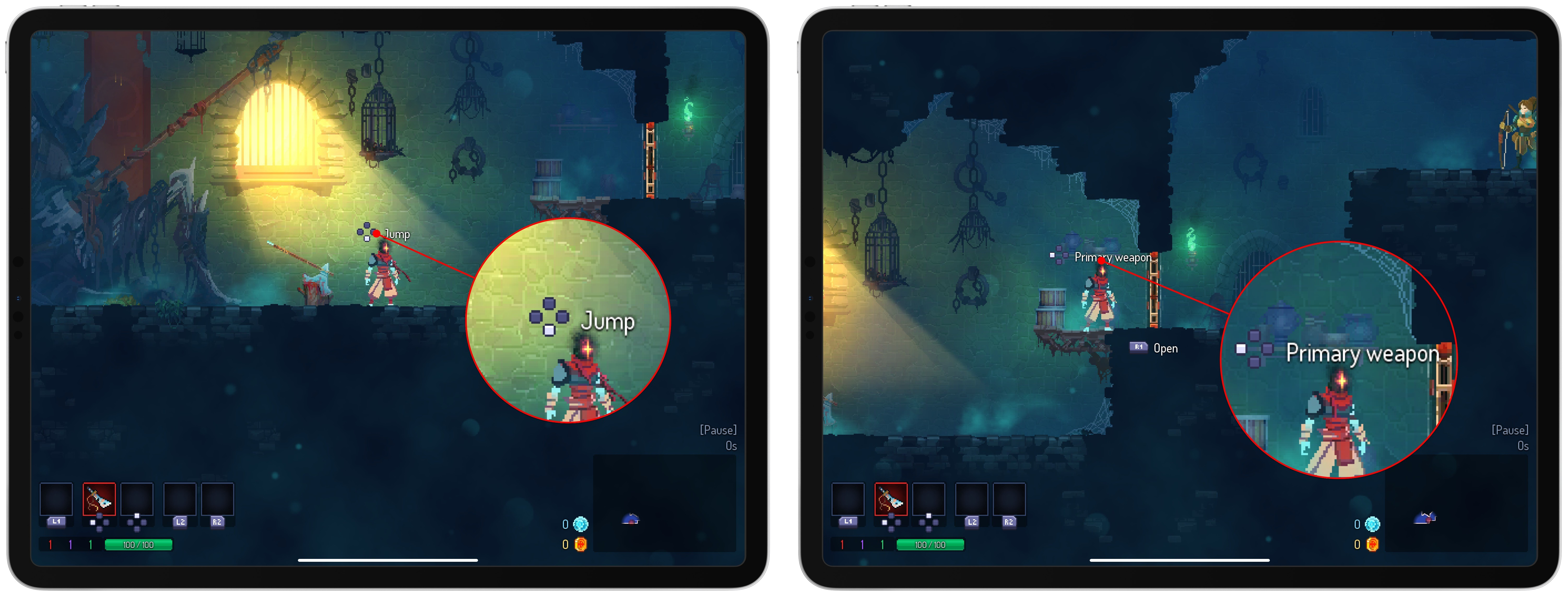 Dead Cells is a good example of a game that uses generic positional mapping of controls for in-game hints.