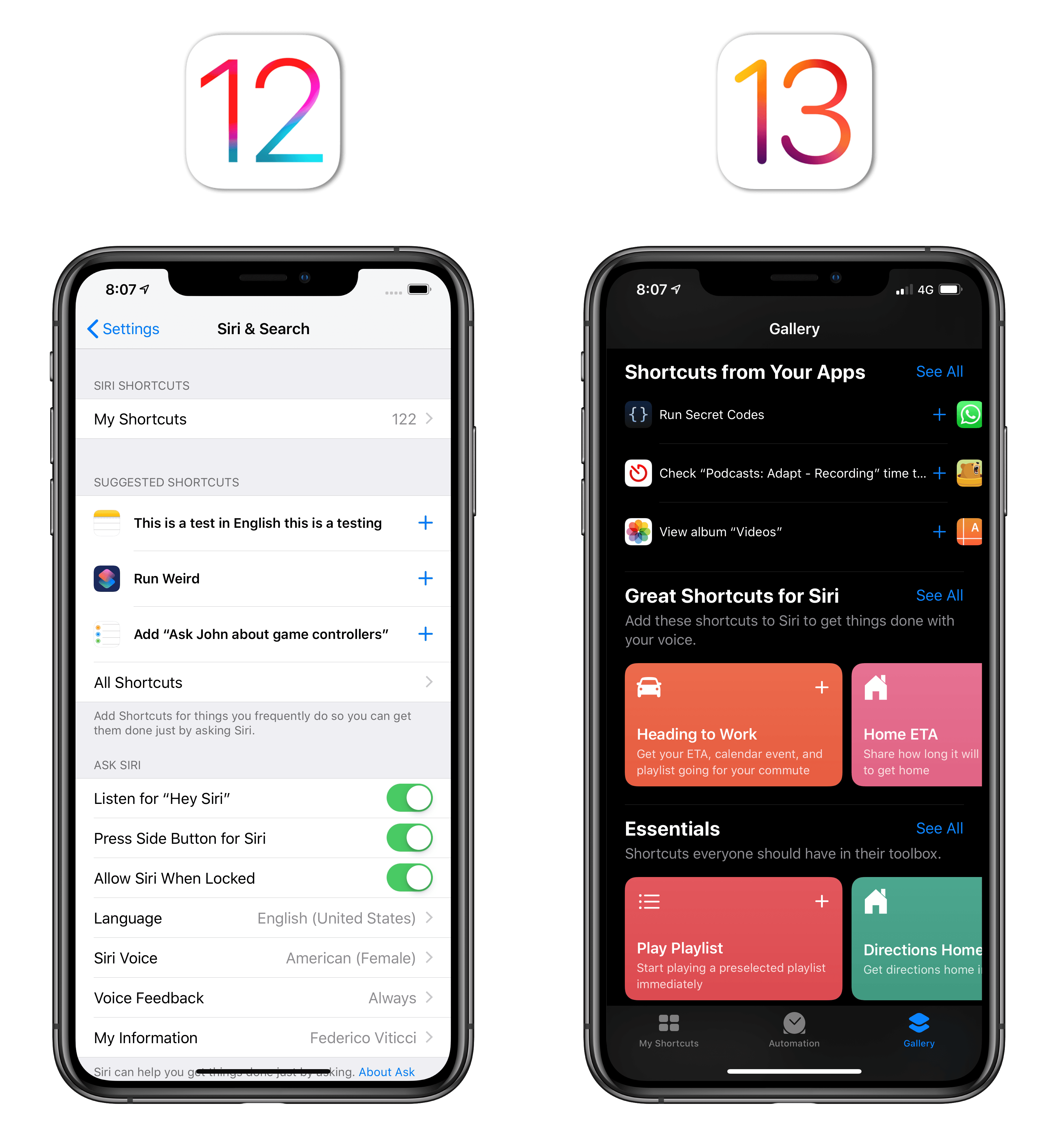 Shortcut suggestions live in the Shortcuts app's gallery in iOS 13.