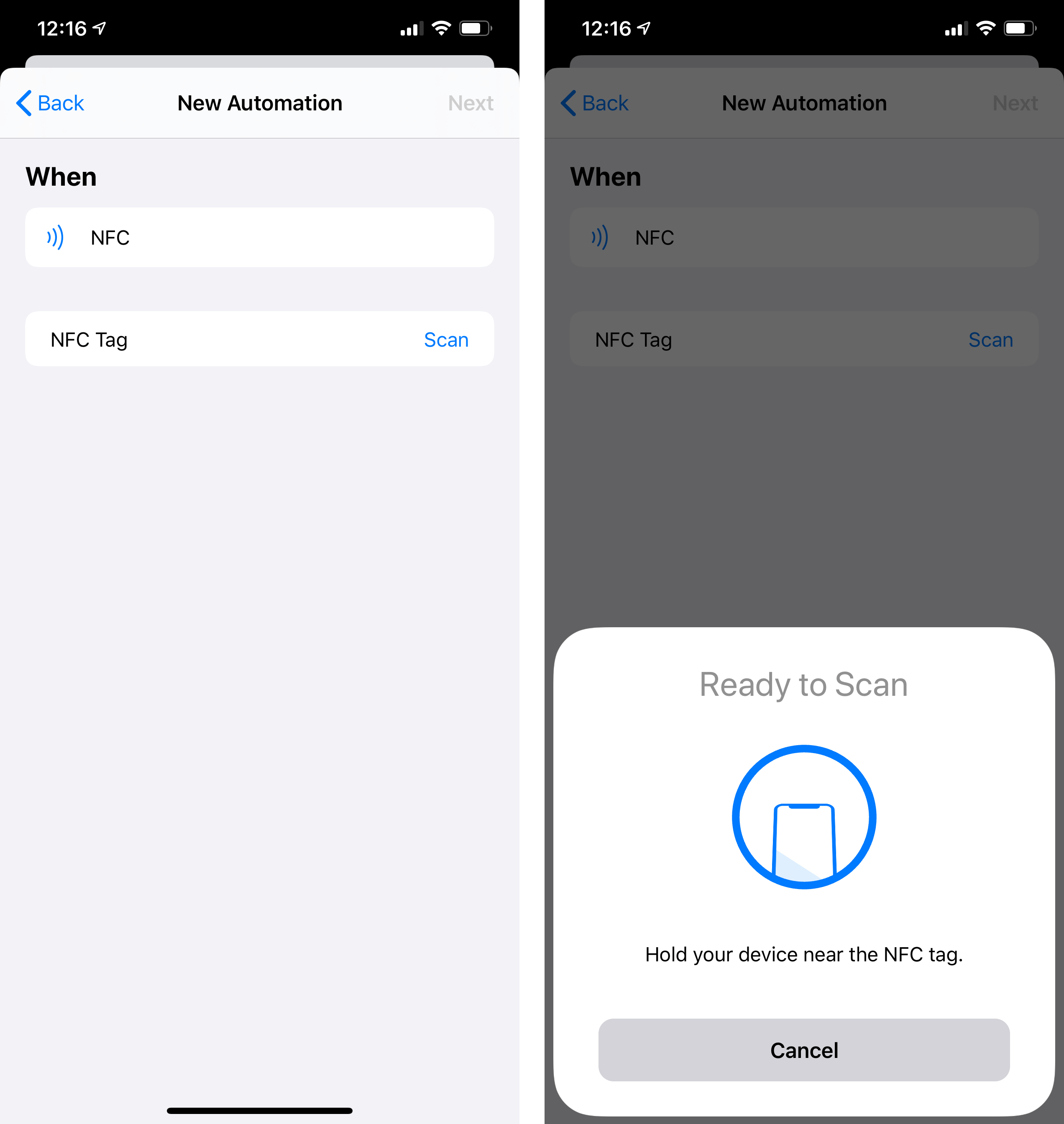 NFC setup in Shortcuts.