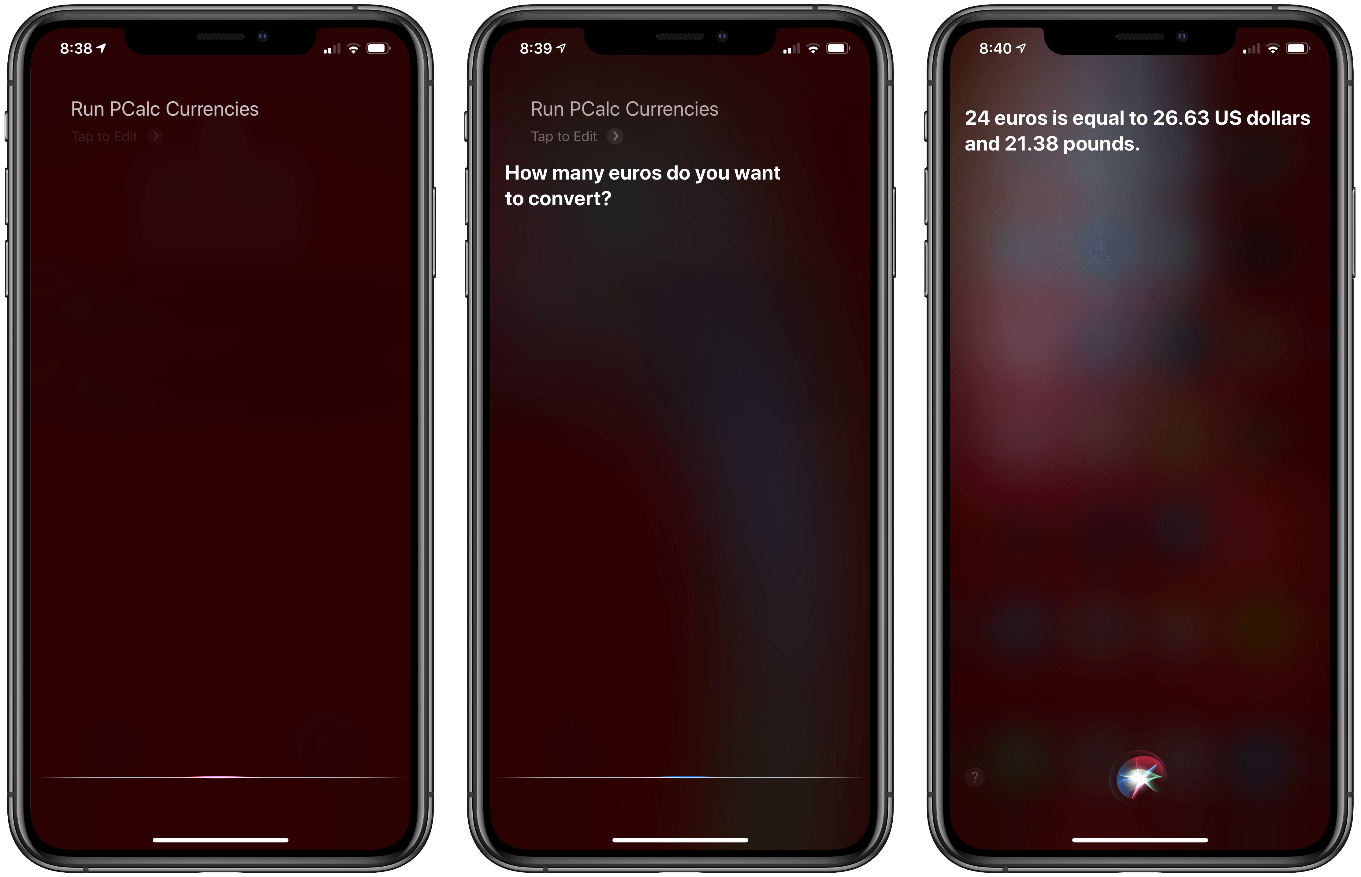 Running PCalc Currencies as a conversational Siri shortcut, which will debut with iOS 13.1.