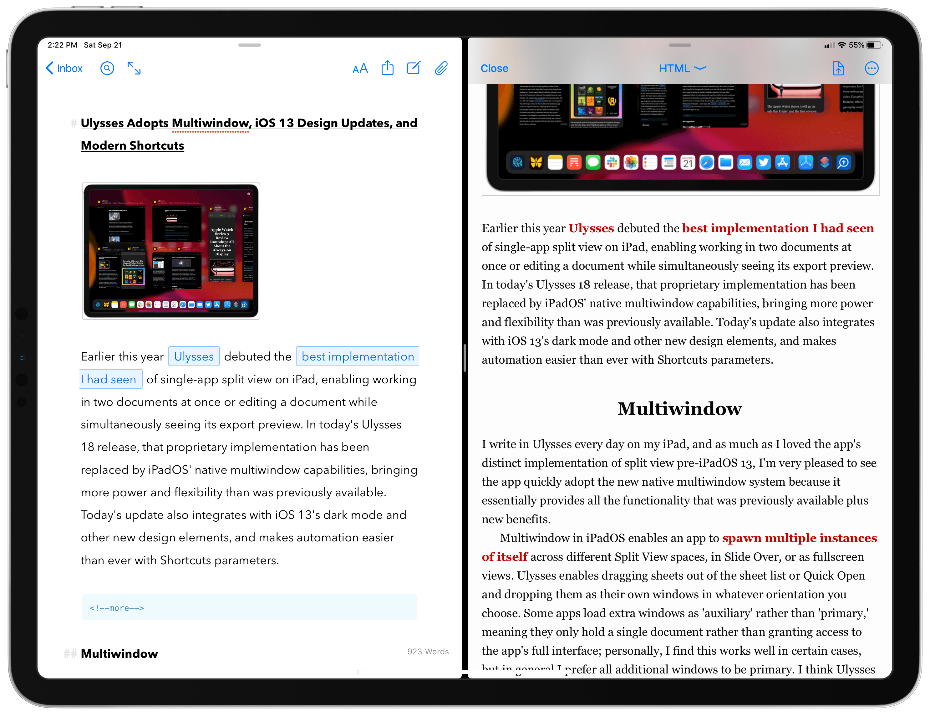 Ulysses Adopts Multiwindow, iOS 13 Design Updates, and Modern Shortcuts