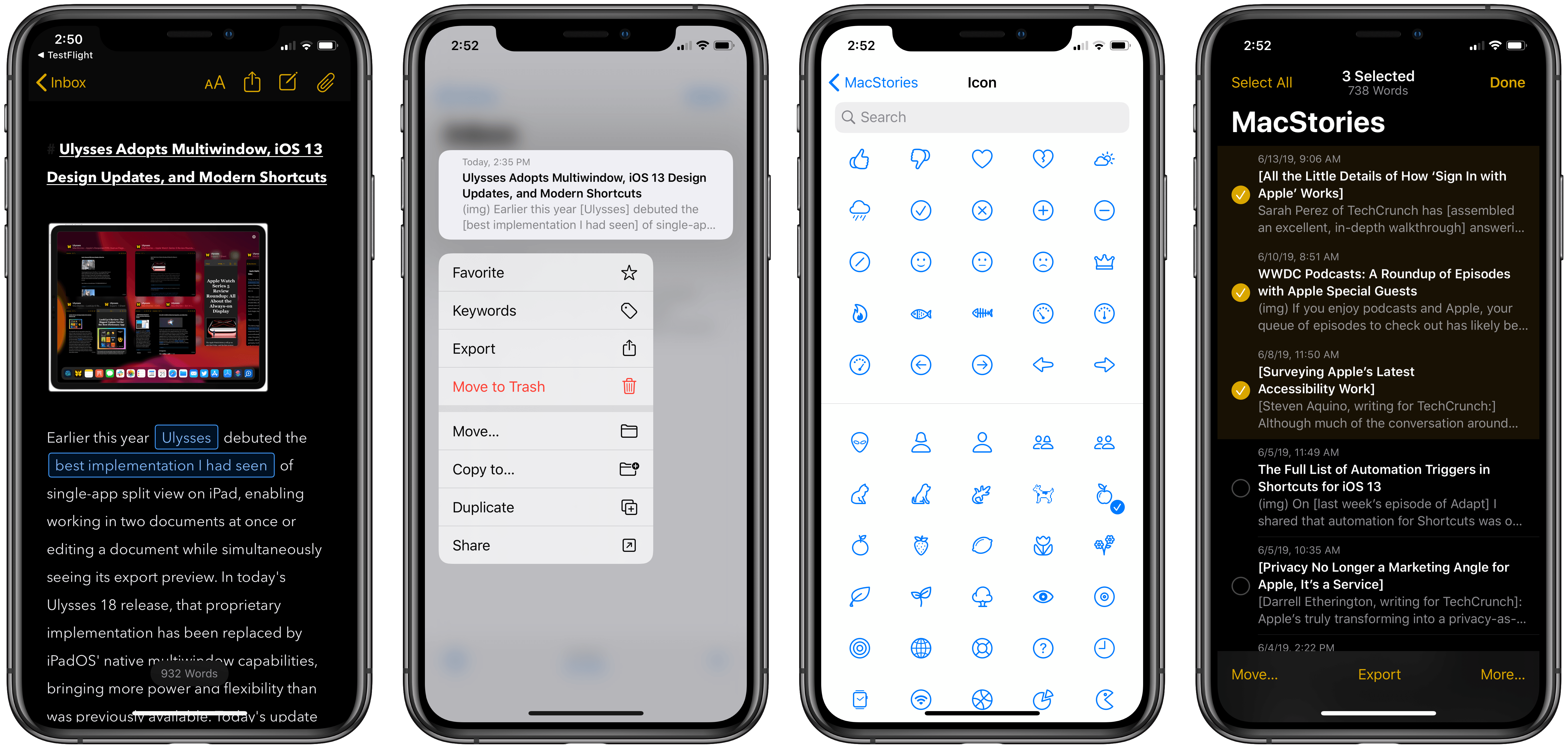 Left to right: Dark mode, context menus, redesigned symbols, quick selection.