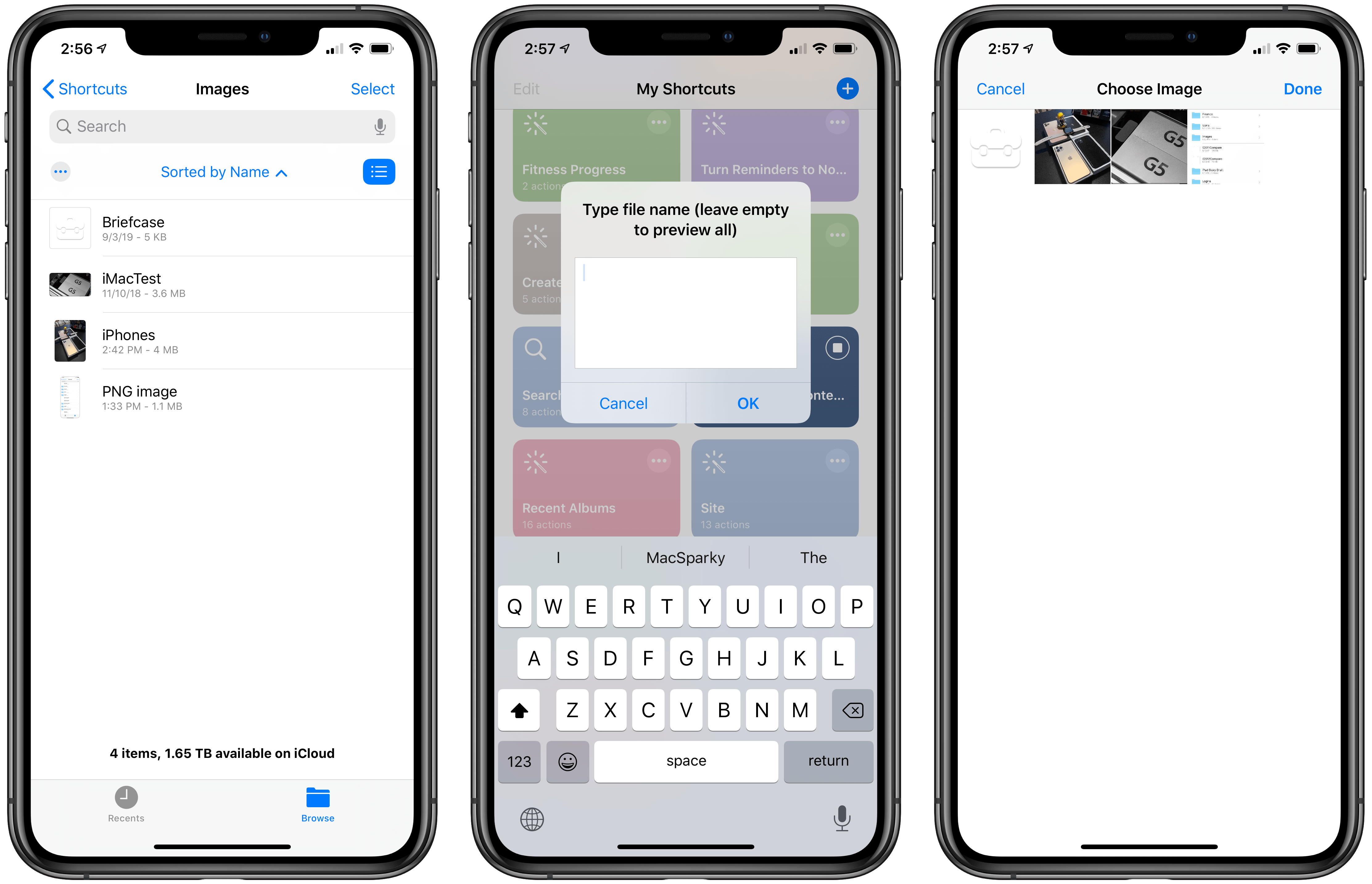 All the contents of a folder (left) can be previewed inside the Shortcuts app.
