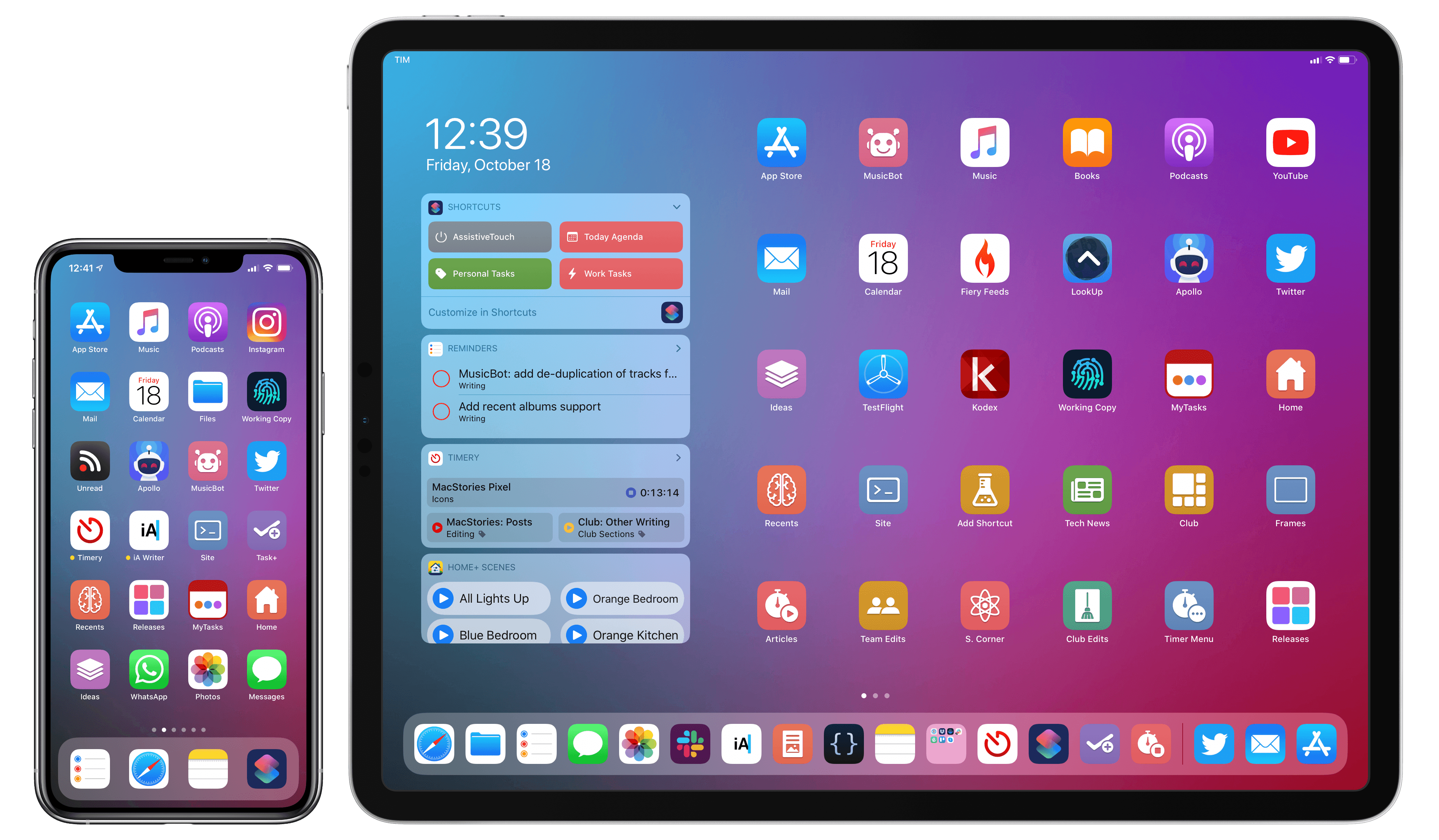 My Home screens featuring the updated MacStories Shortcuts Icons.