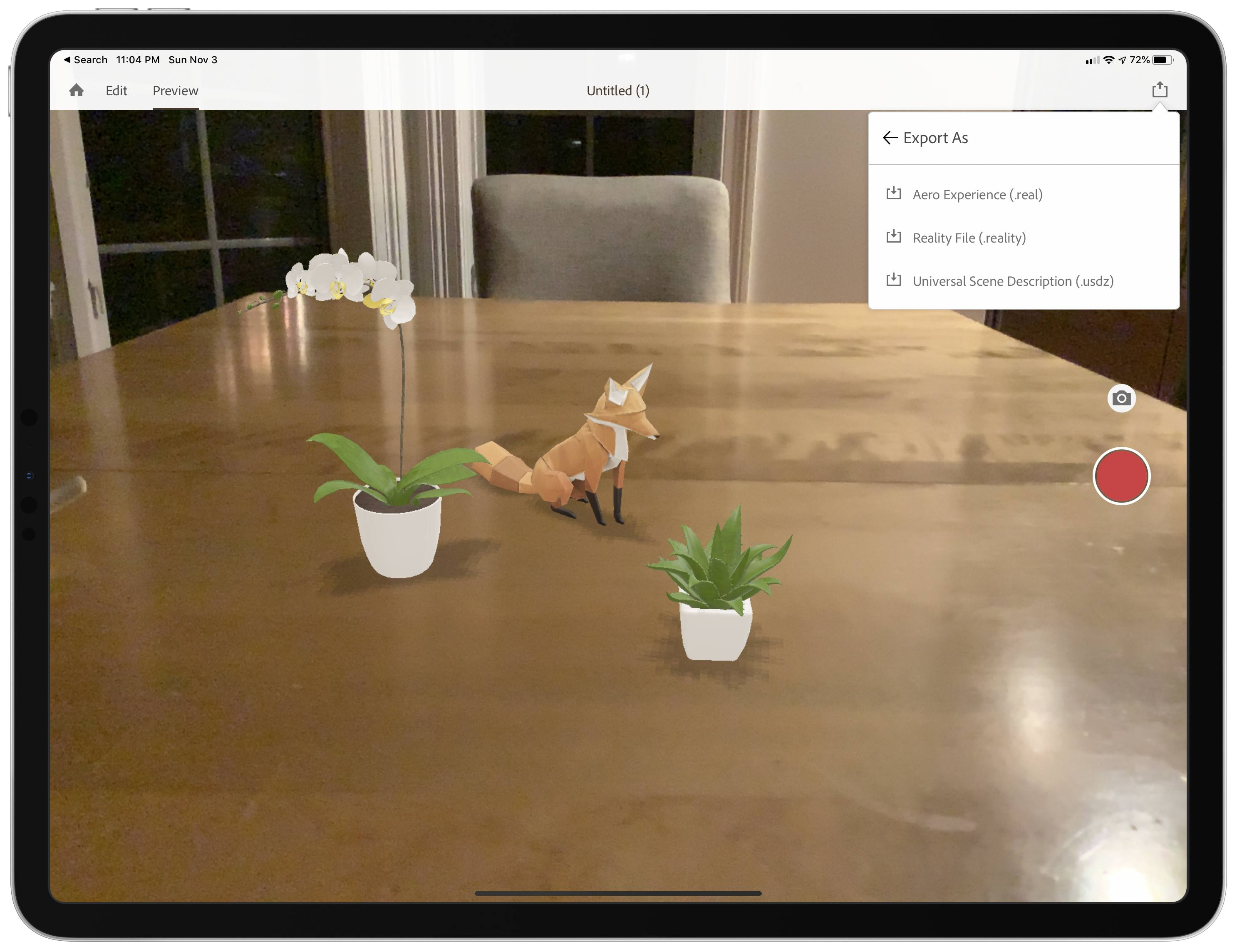 In no time at all, I had a fox jumping around two potted plants on my kitchen table using Aero.