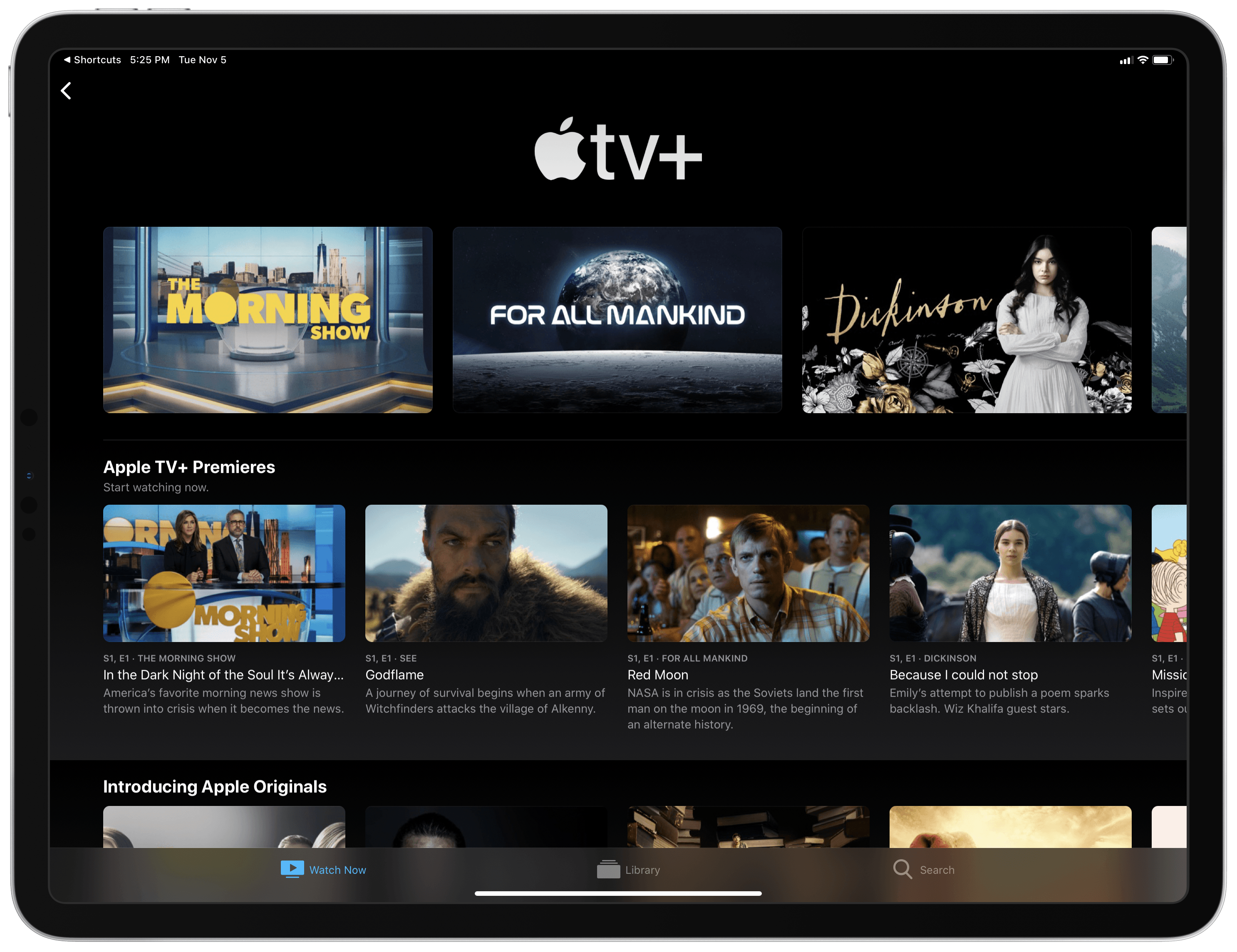 The current front page of Apple TV+ inside the TV app, launched via my shortcut.
