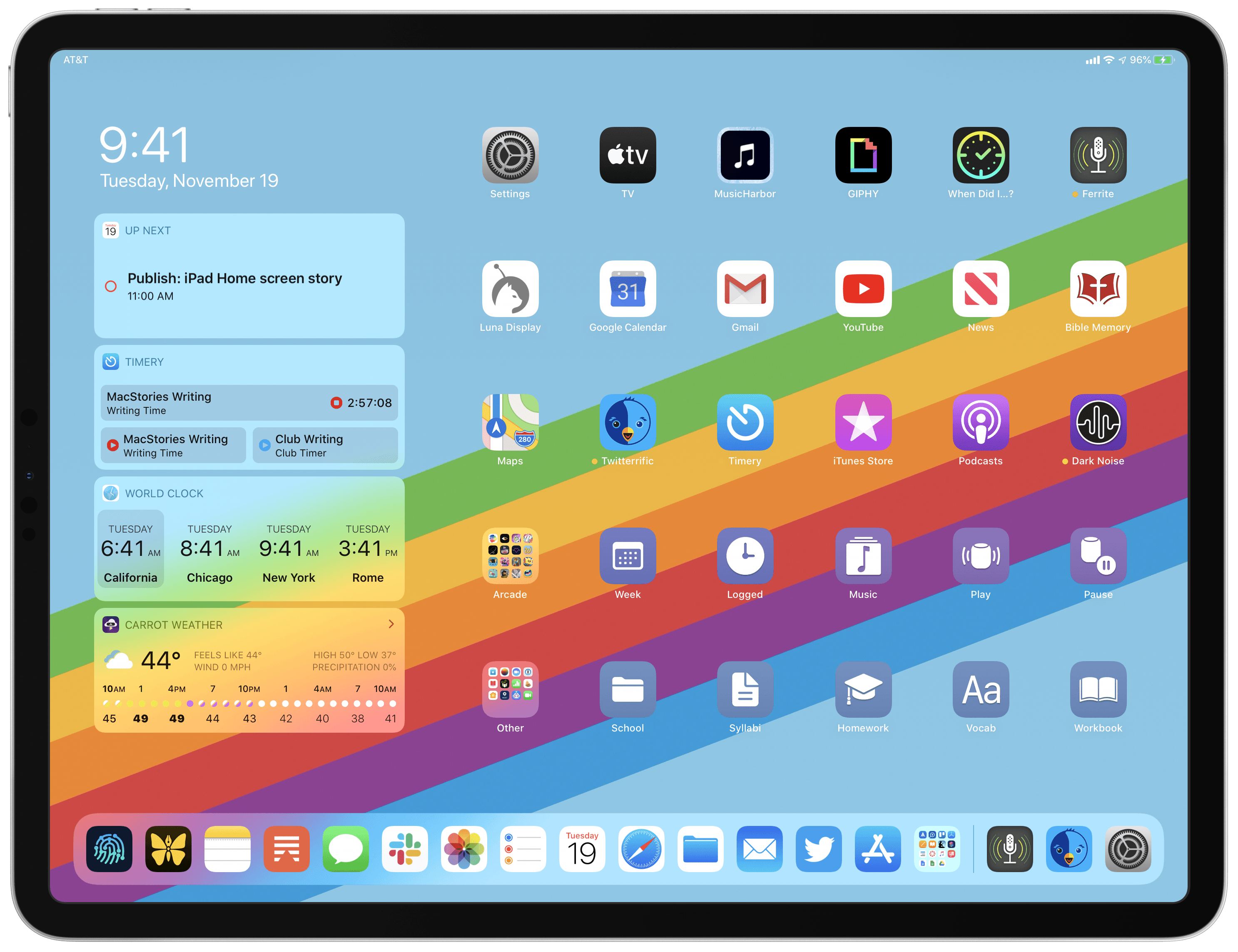 My iPadOS Home screen.