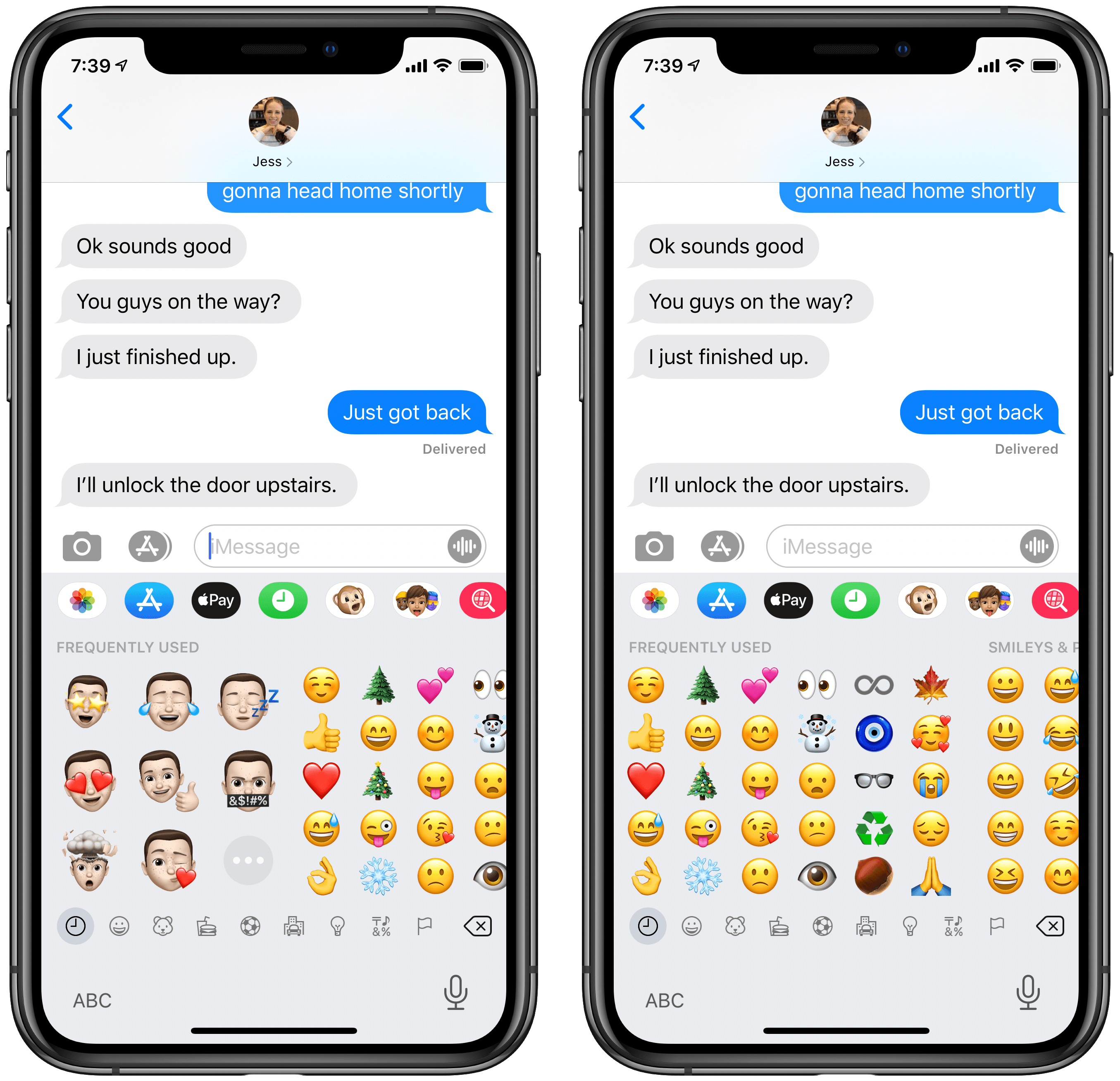 Emoji keyboard with Memoji stickers (left) and without (right).