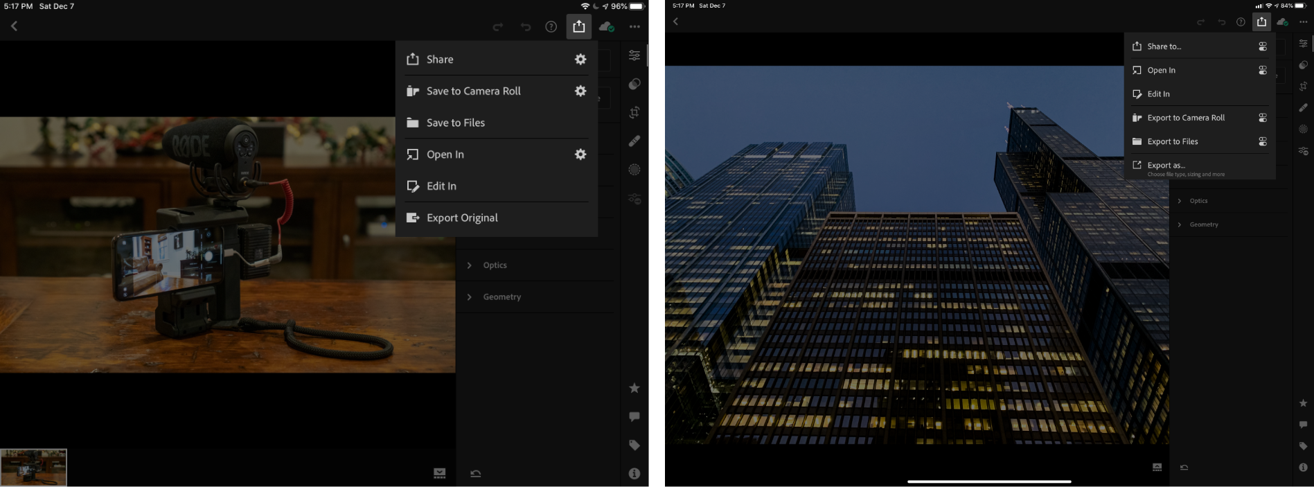 Lightroom 5's share menu (left) and Lightroom 5.1's new share menu (right).