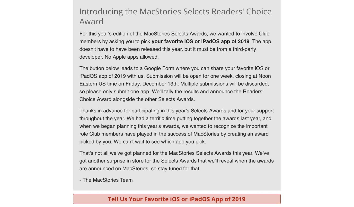 Club MacStories members can find the link to vote for the Readers' Choice Award in Issue 203 of MacStories Weekly.