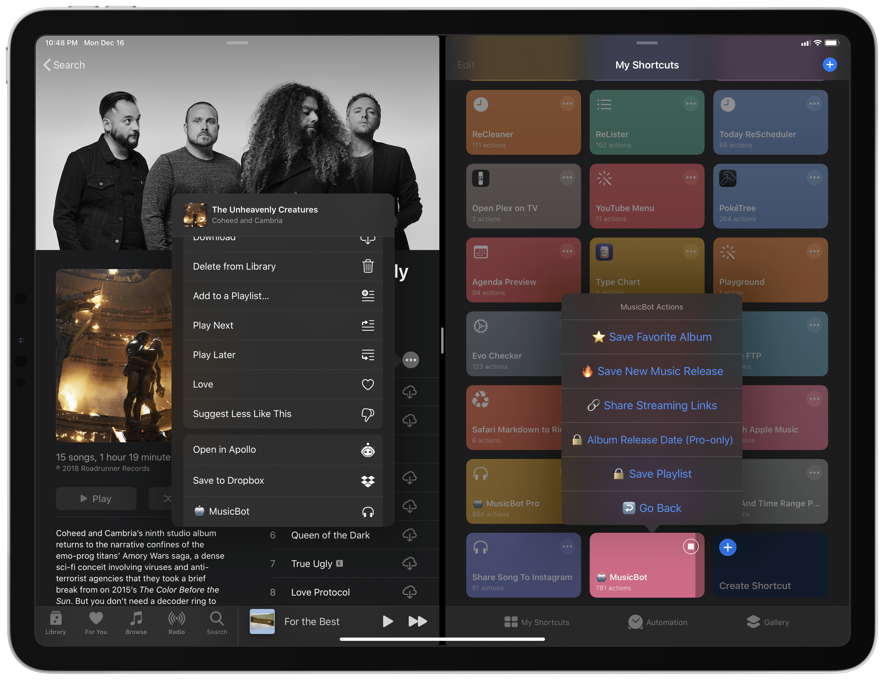 MusicBot running in extension mode after passing an album from the share sheet in Music.