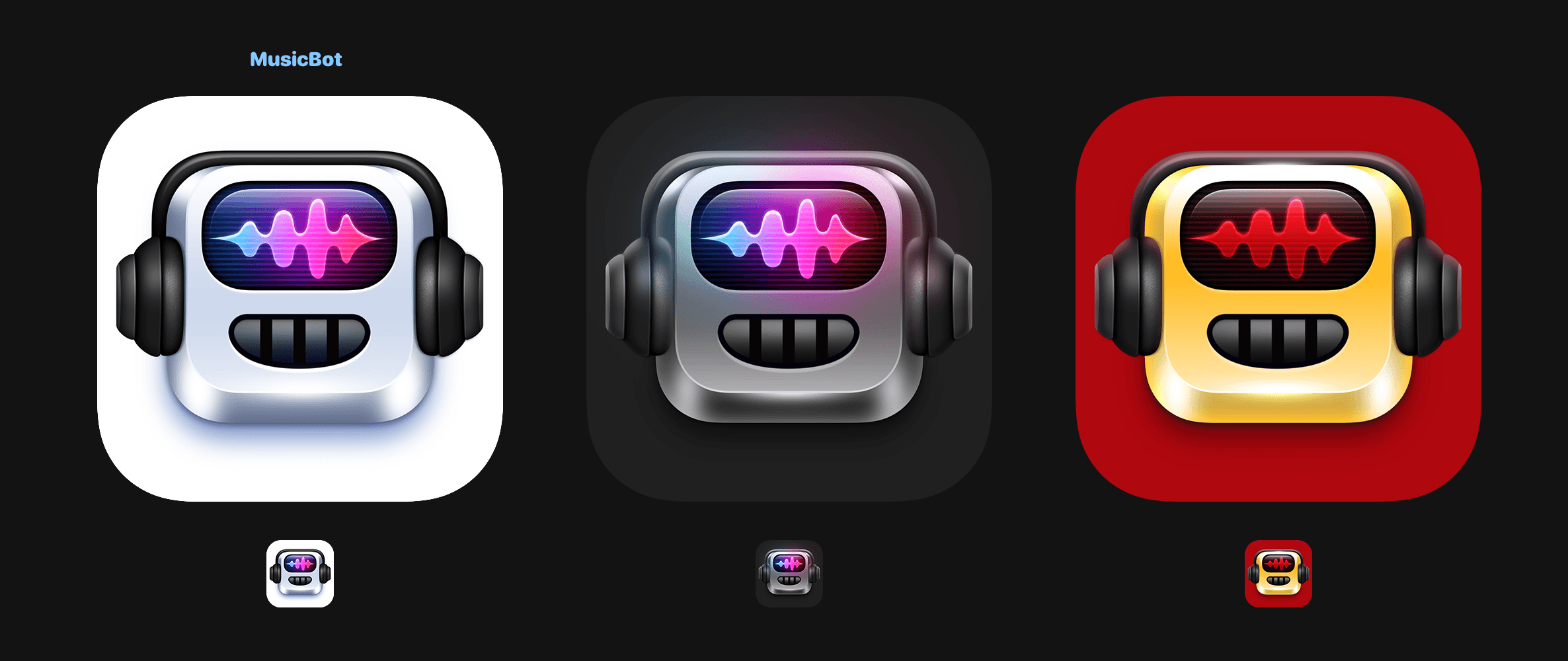 The MusicBot icon family. The dark and gold icons are exclusive to Club MacStories members.