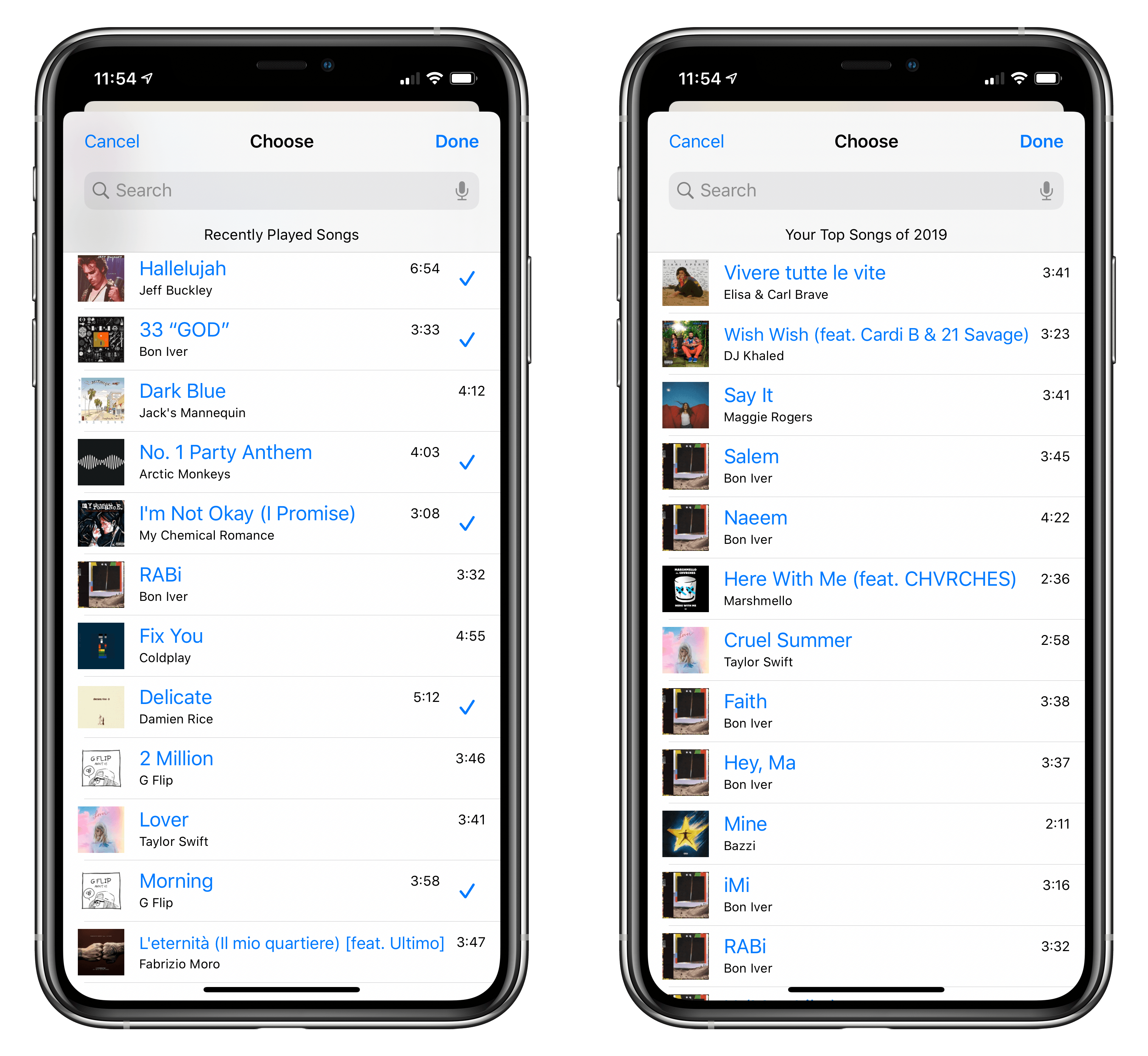For certain smart mixes, you can pick which songs to play directly from MusicBot.