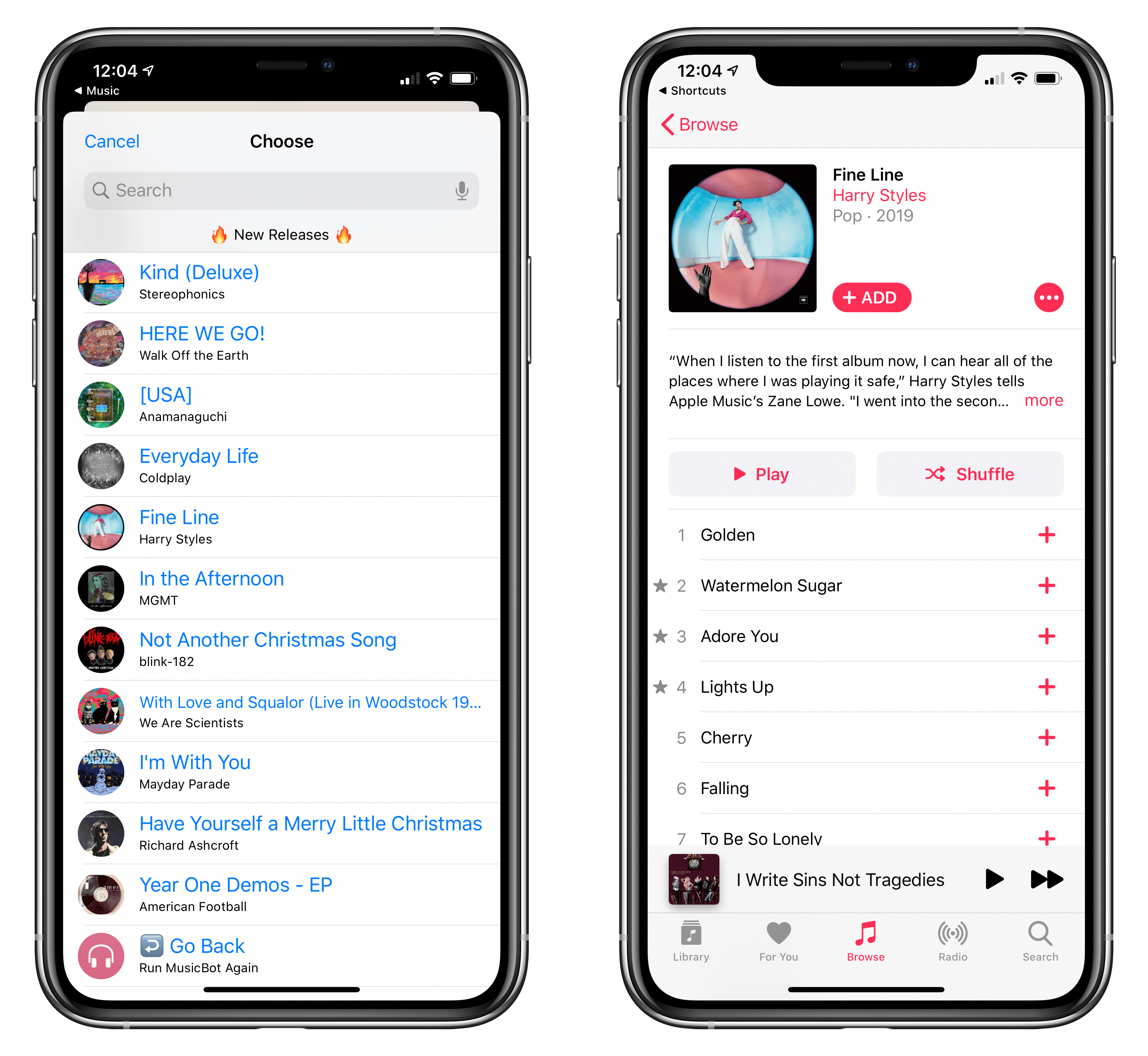 Tapping a new music release in MusicBot opens it in the Music app.
