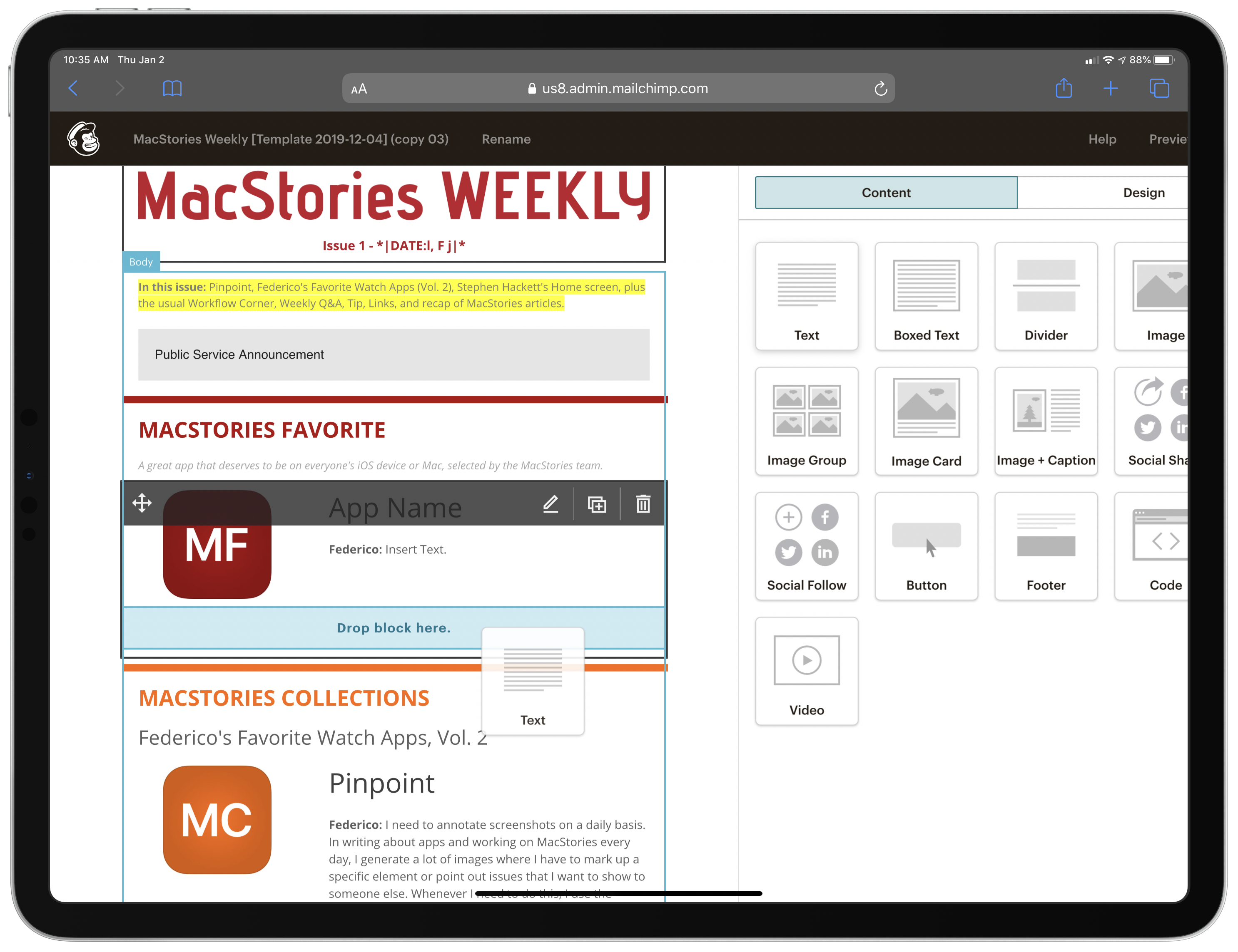 Dragging a text content block into the MacStories Weekly Mailchimp template.