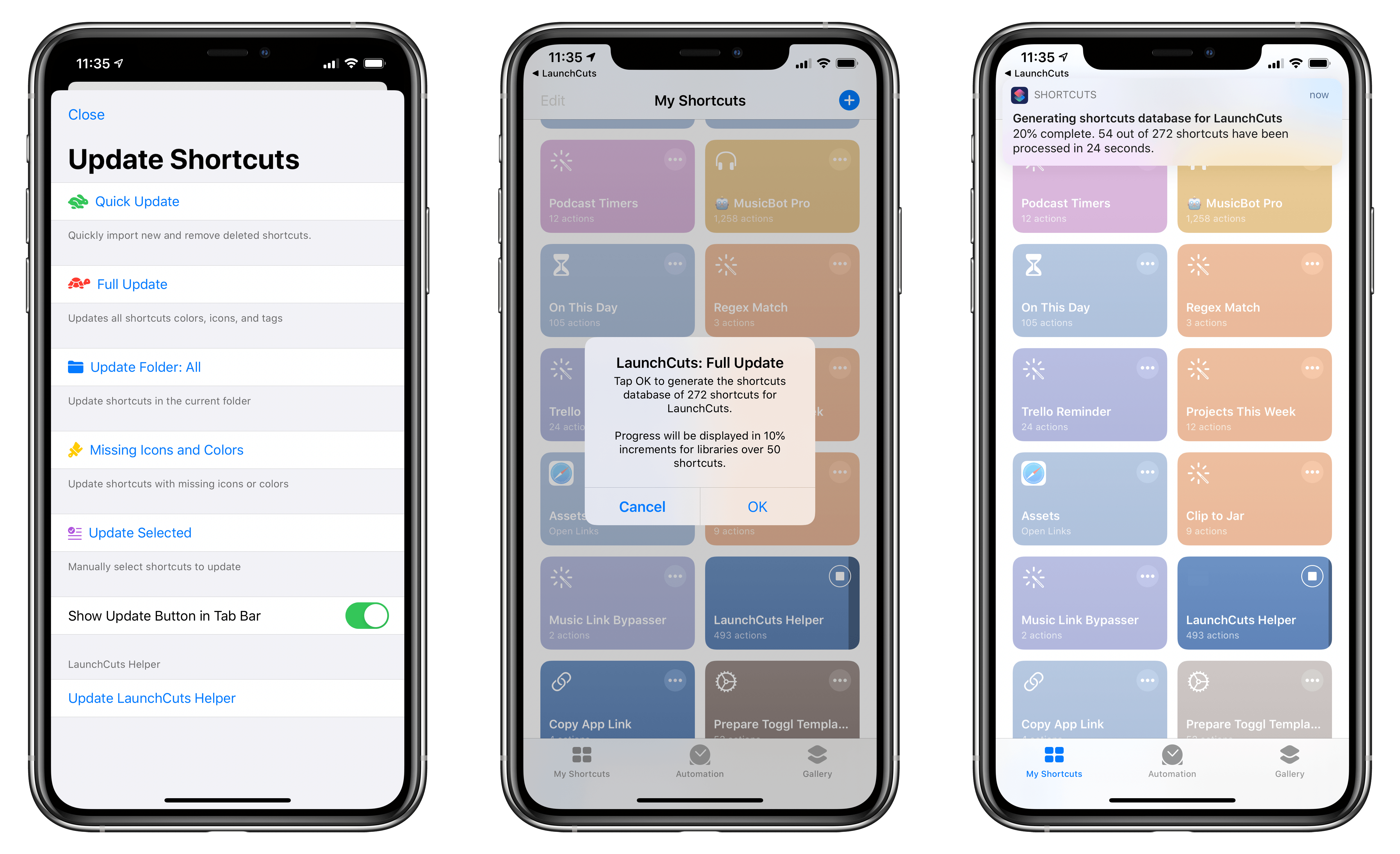 Running the LaunchCuts Helper shortcut to update the app's database of your installed shortcuts.