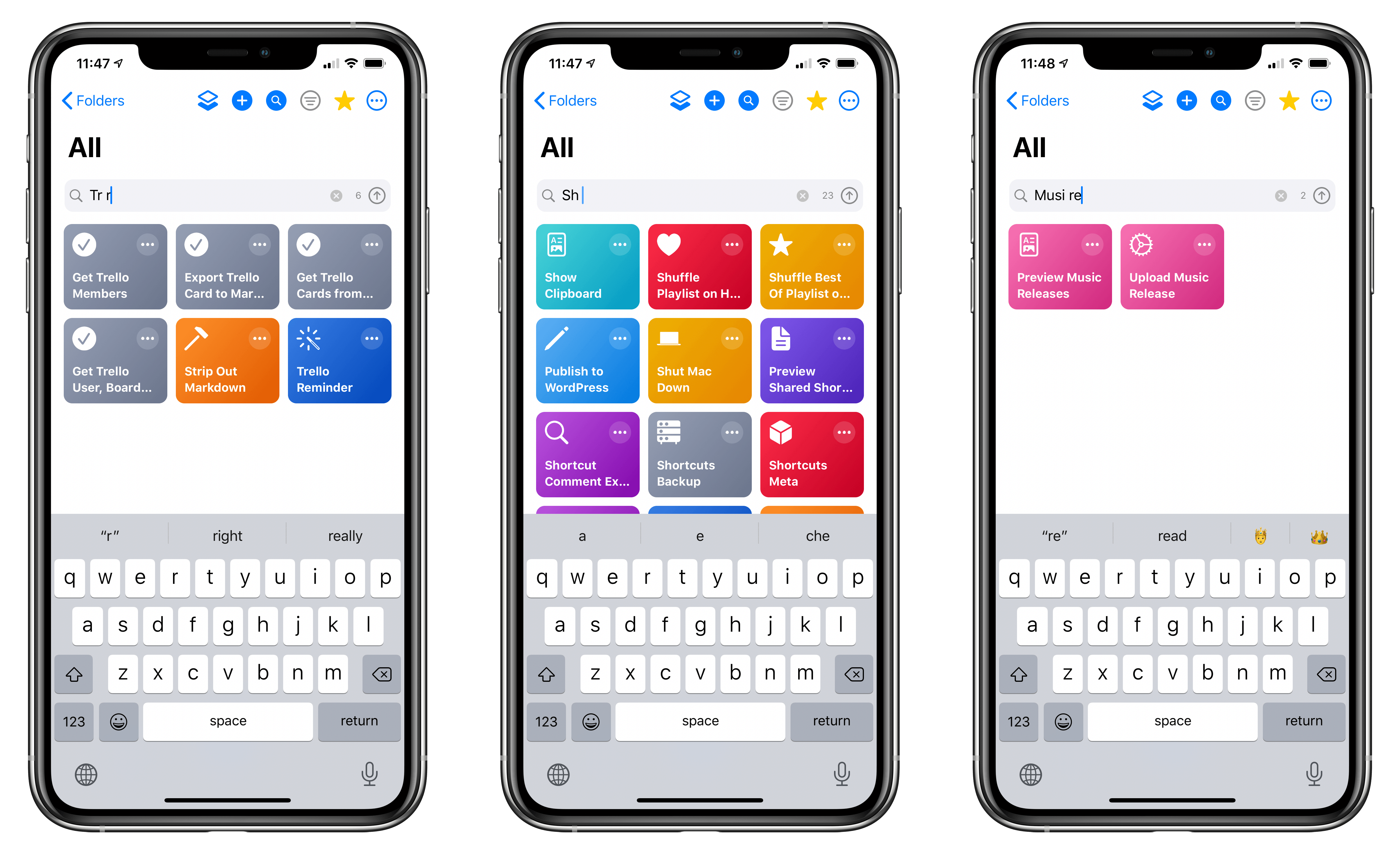 Examples of shortcuts that can be found with LaunchCuts' advanced search feature.