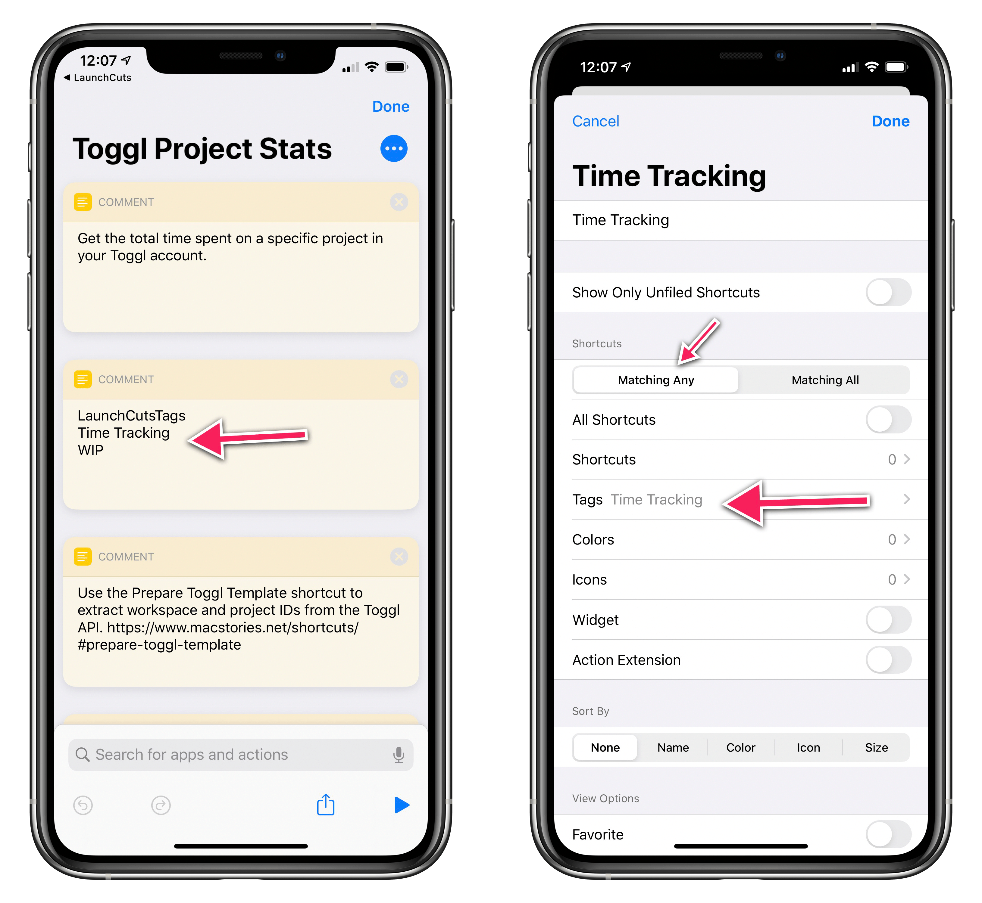 Smart folders in LaunchCuts are based on tags you add to your shortcuts.