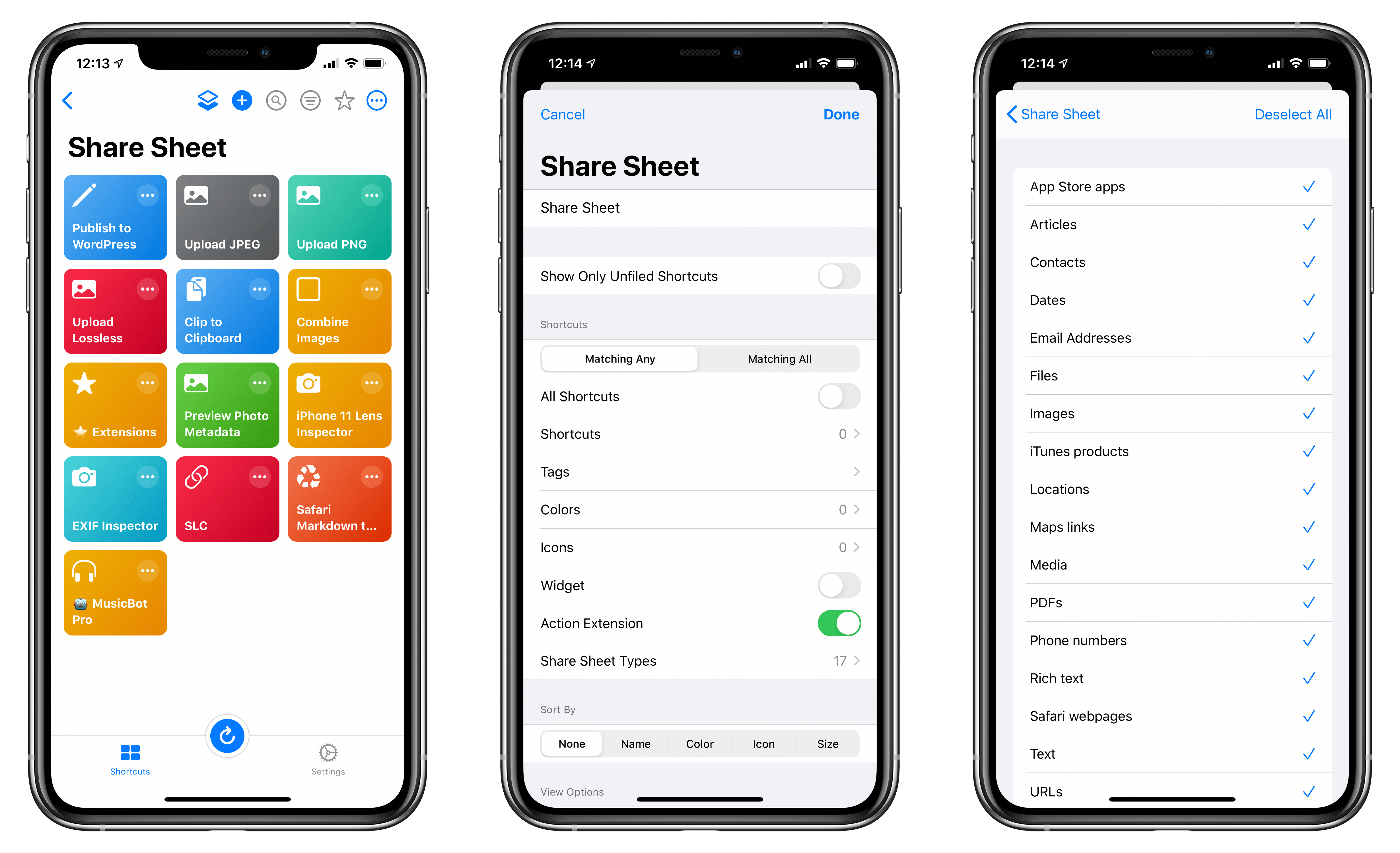 You can create a smart folder that shows you shortcuts you've enabled for use in the share sheet.