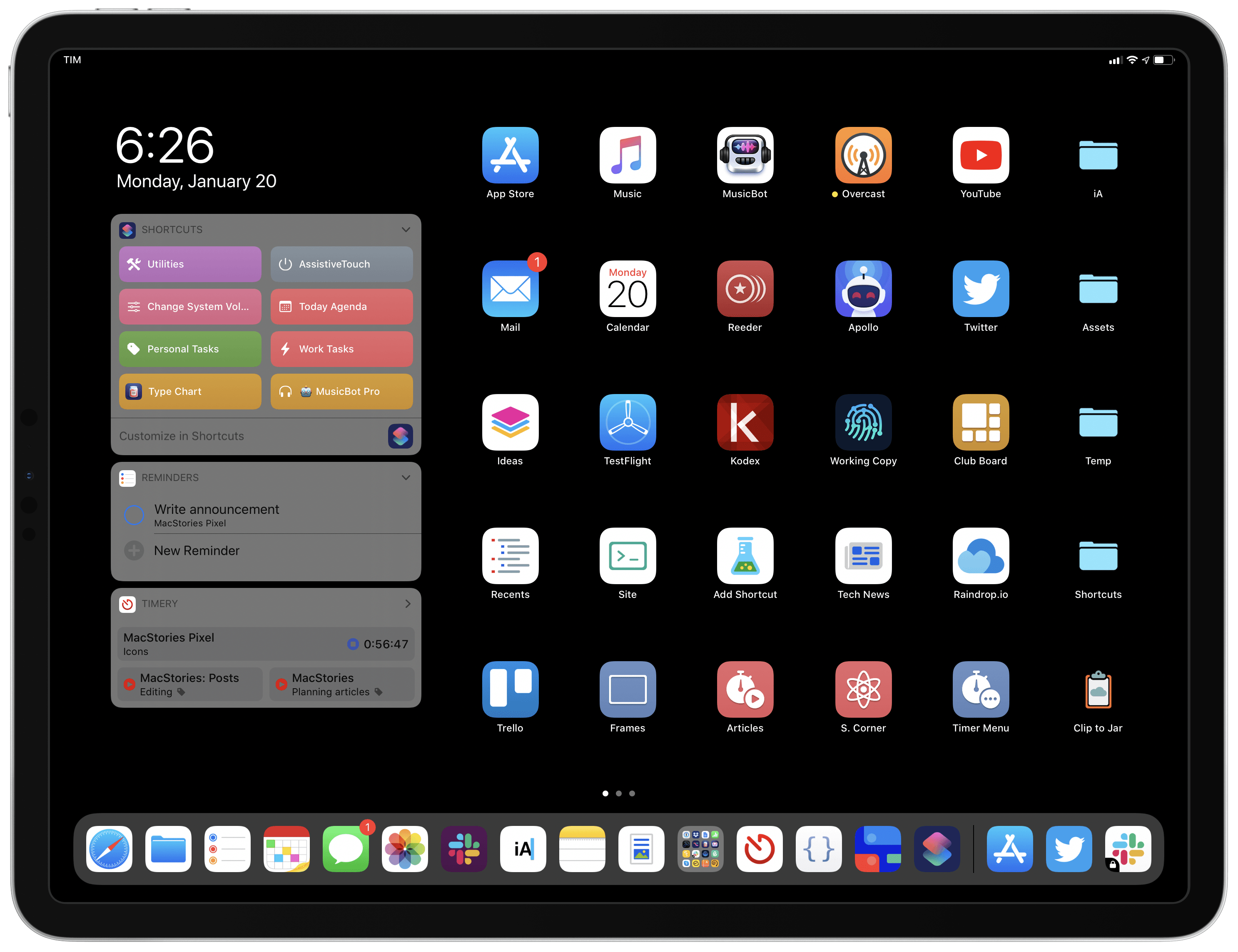 My custom iPad Home screen, powered by the Color set.