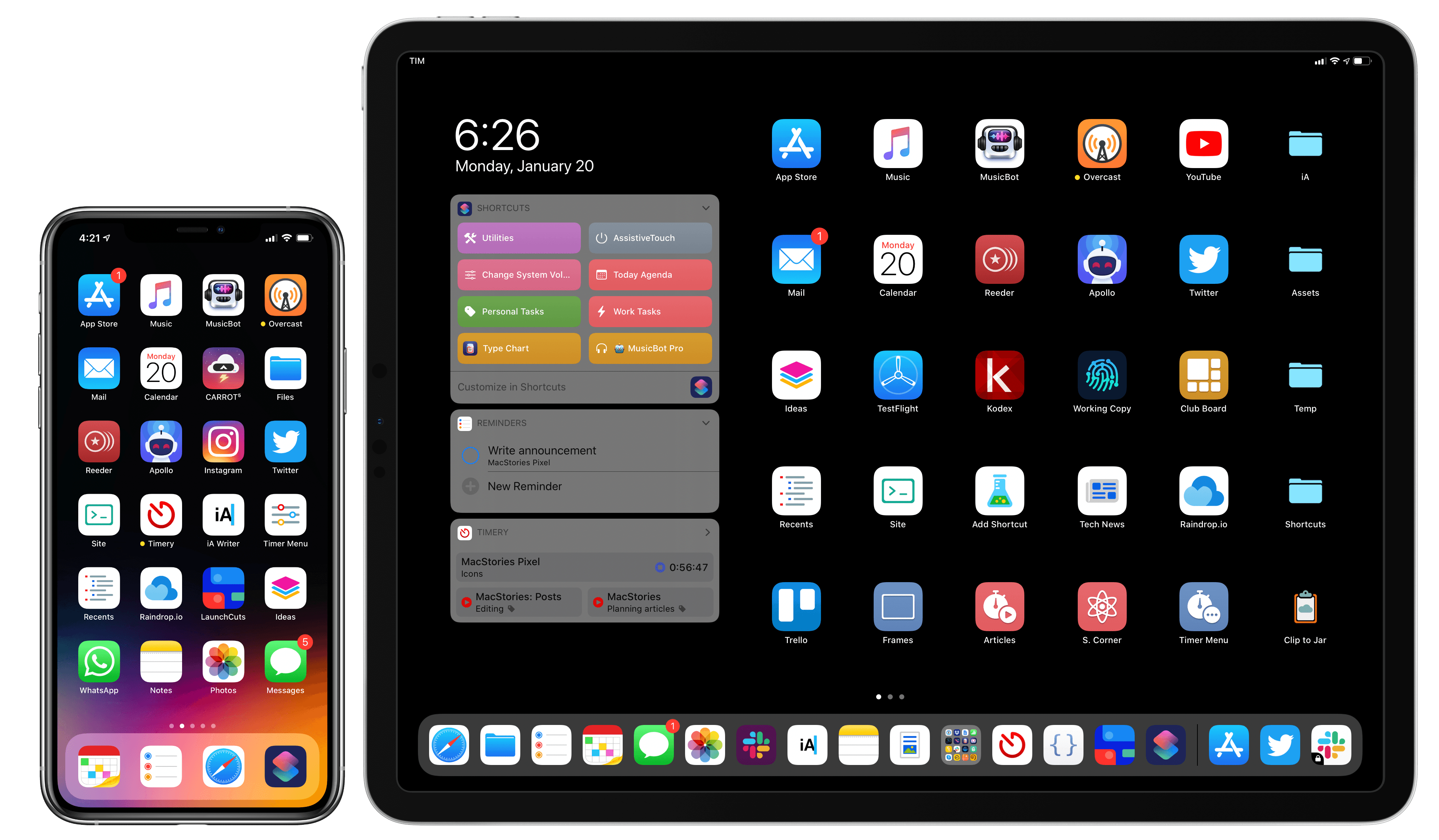 Mixing and matching apps with MacStories Shortcuts Icons on my Home screens.
