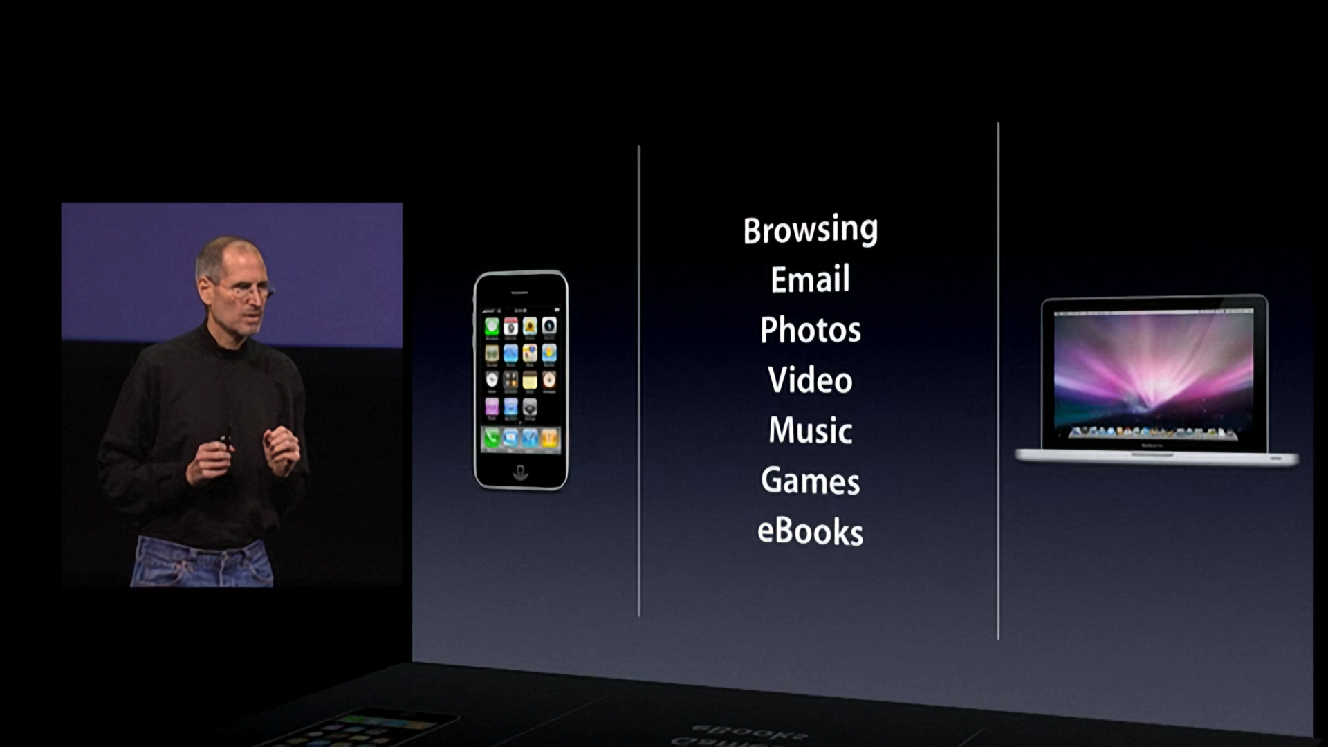Jobs explained that a third category of device had to be 'far better at some key things.'