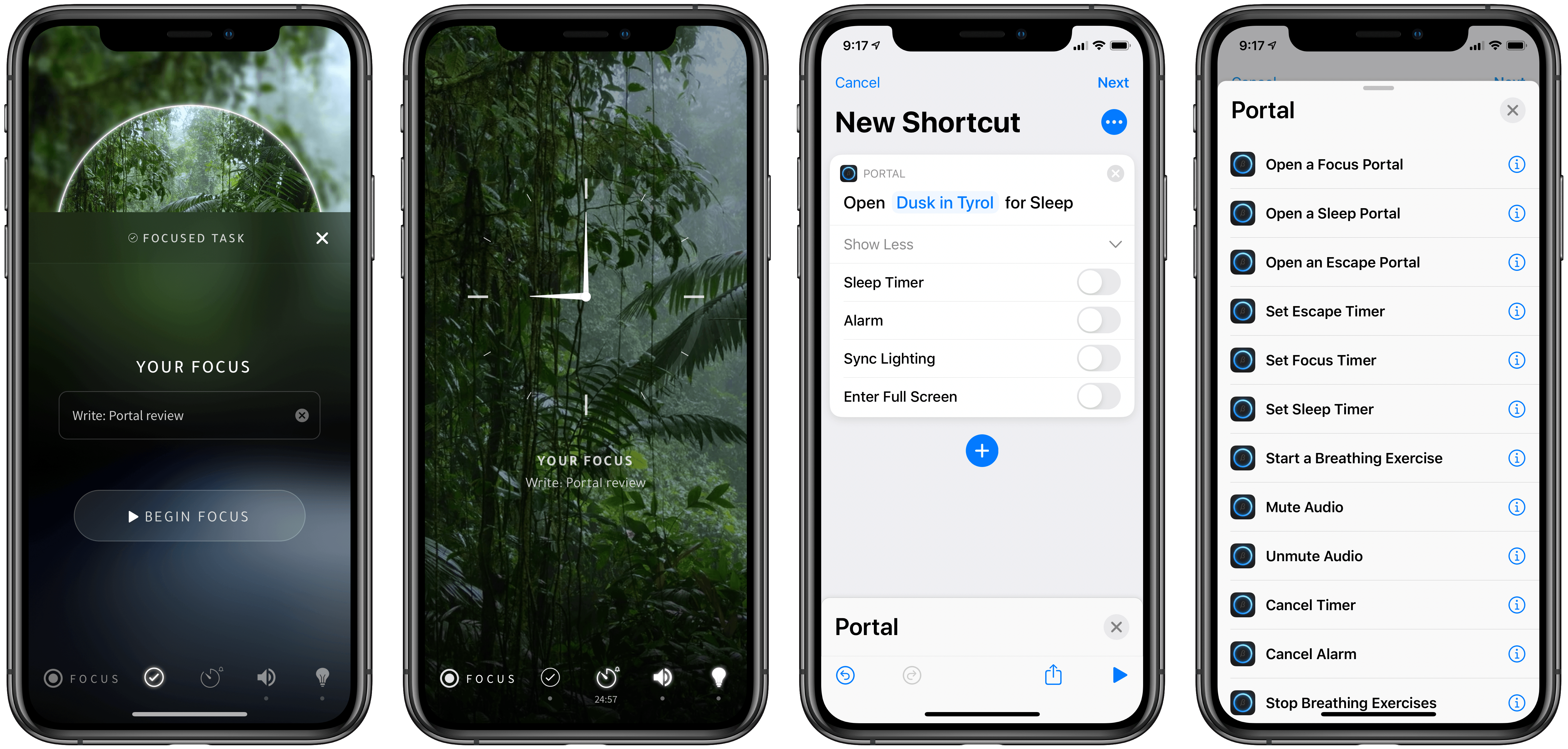 Focus timers (left) and Shortcuts support (right).