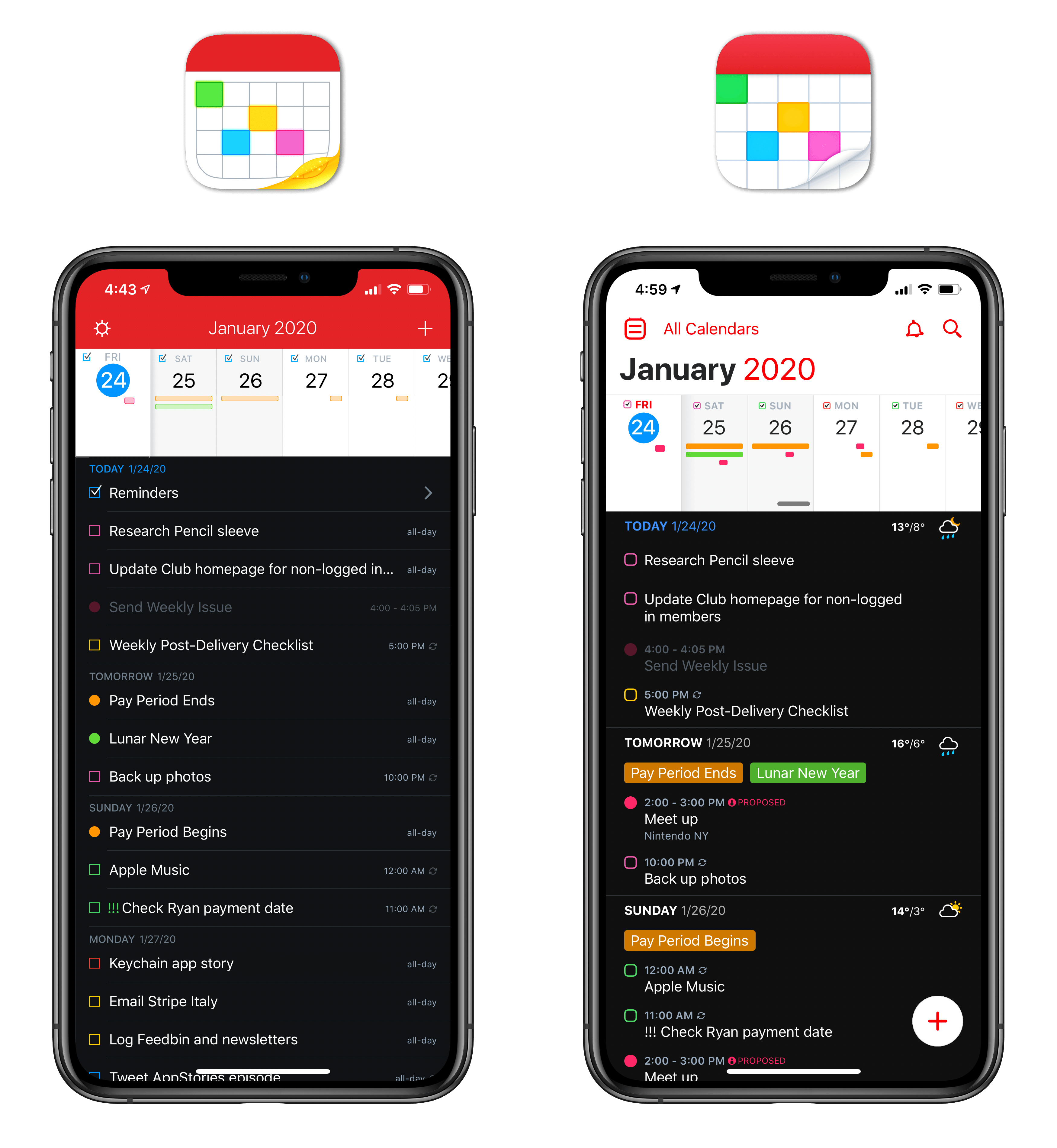 The new Fantastical (right) has a refreshed look with better separation between days.