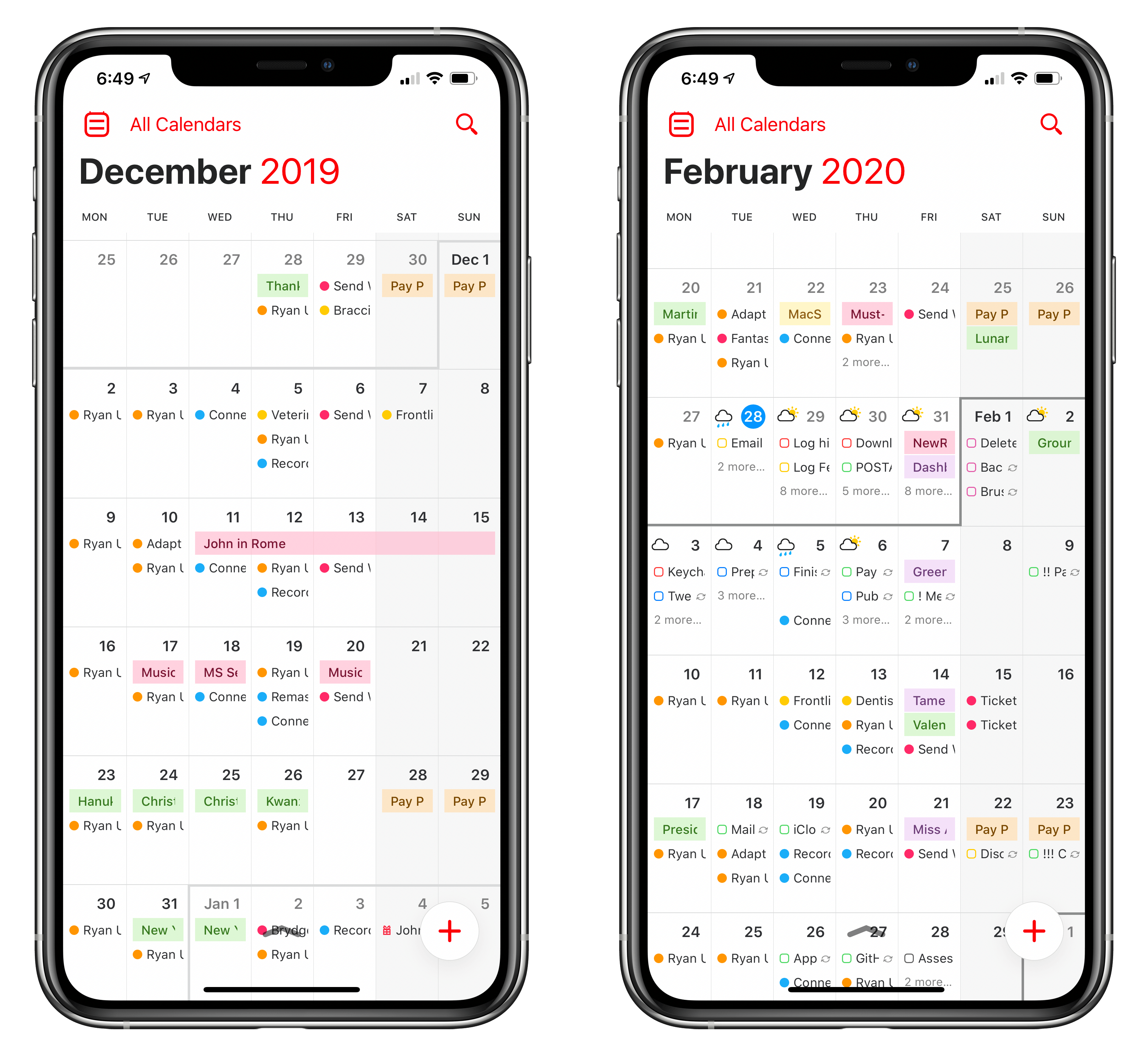 The month's outline grows darker when scrolling in month view.