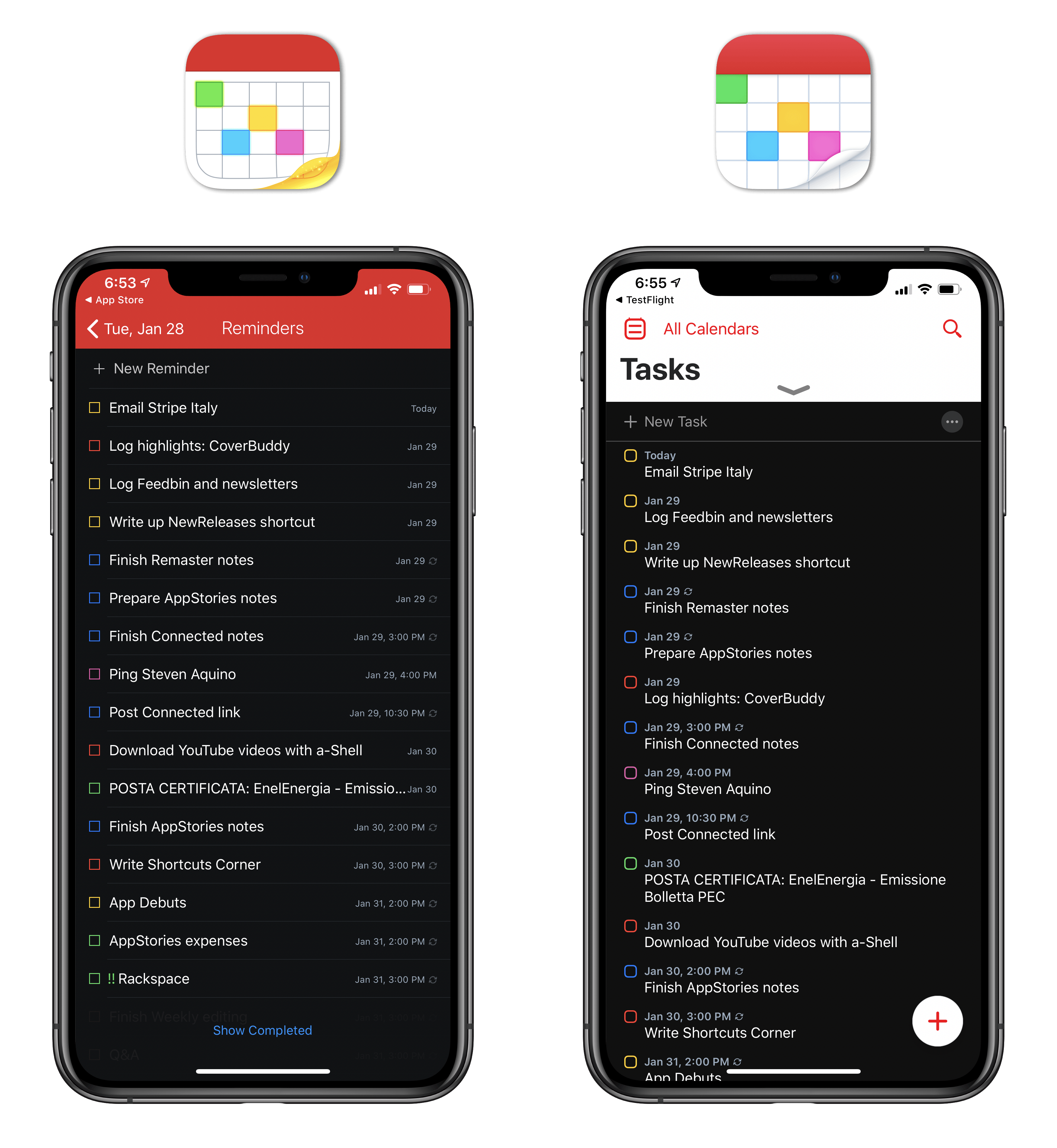 The updated Tasks view.