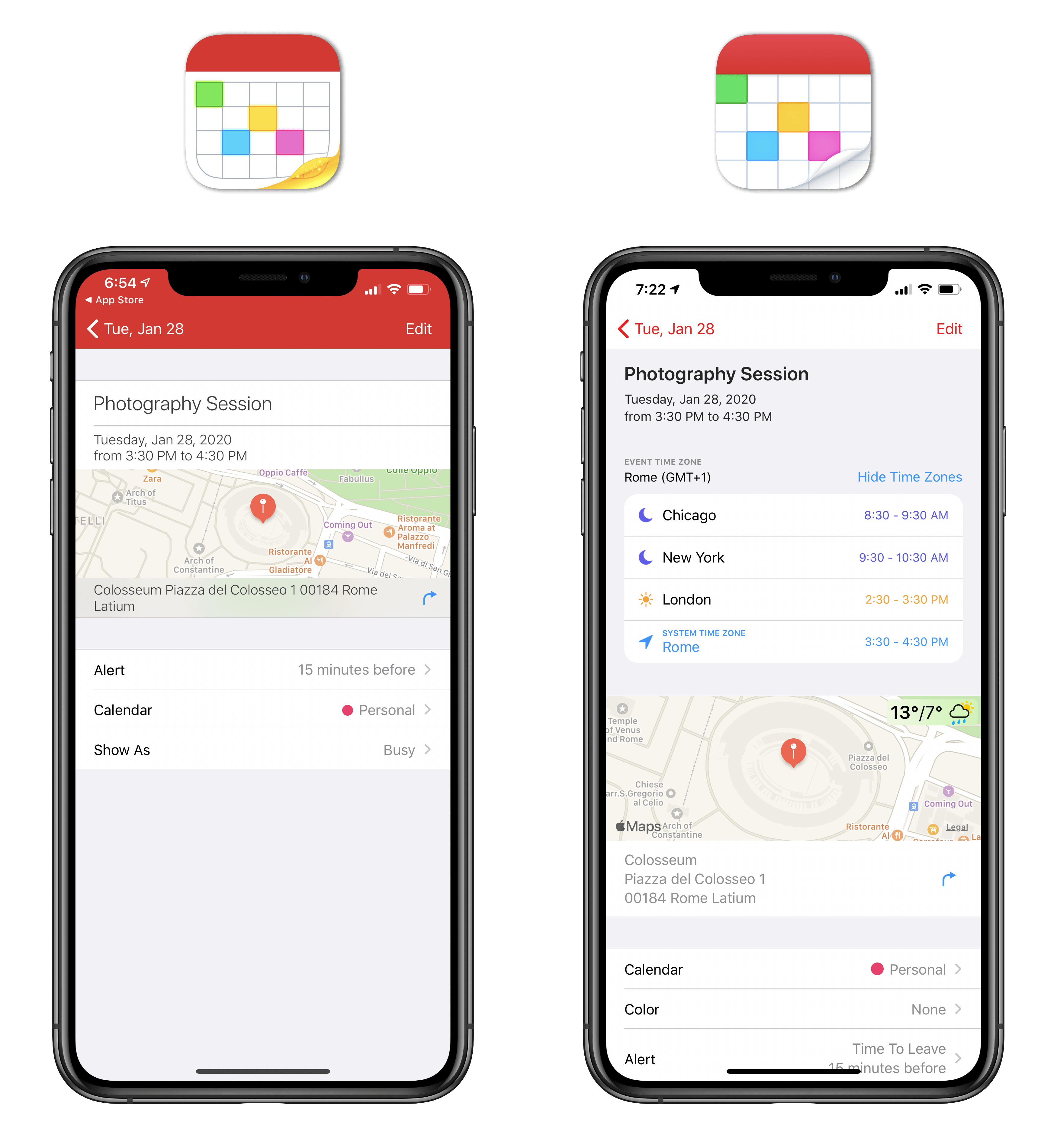 The new event inspector with support for multiple time zones.