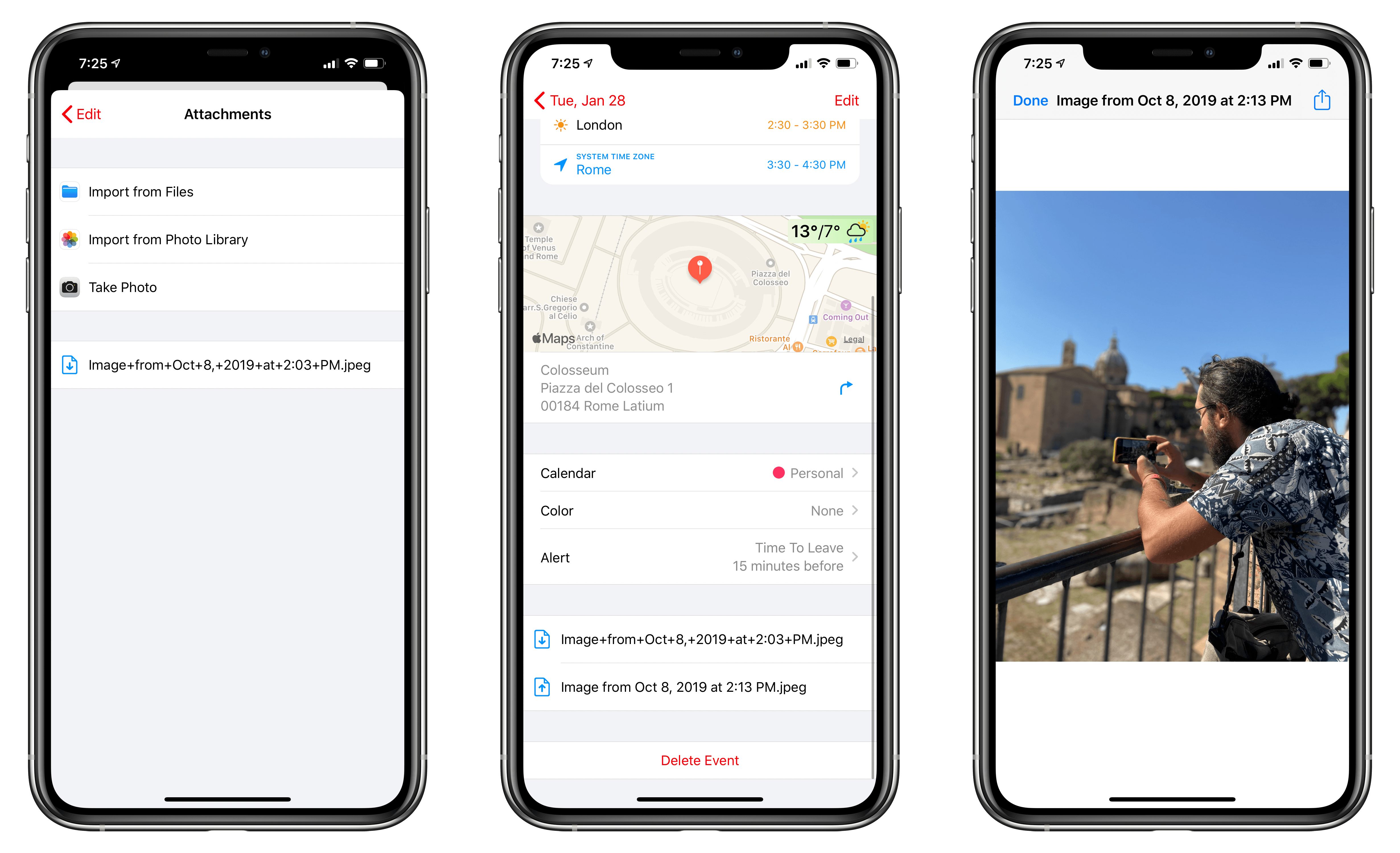 You can add attachments to events in the new Fantastical.