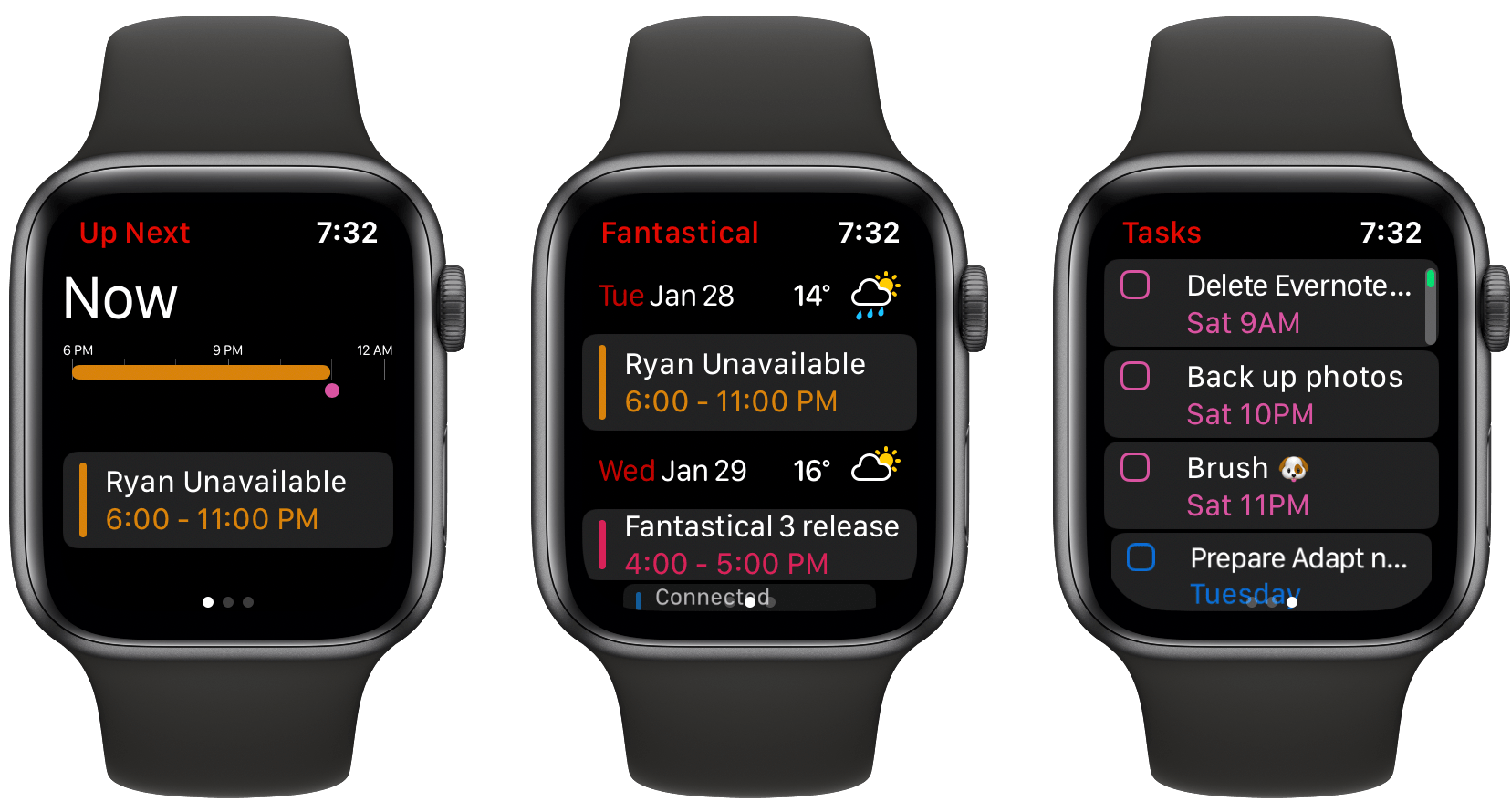The updated Fantastical Watch app.