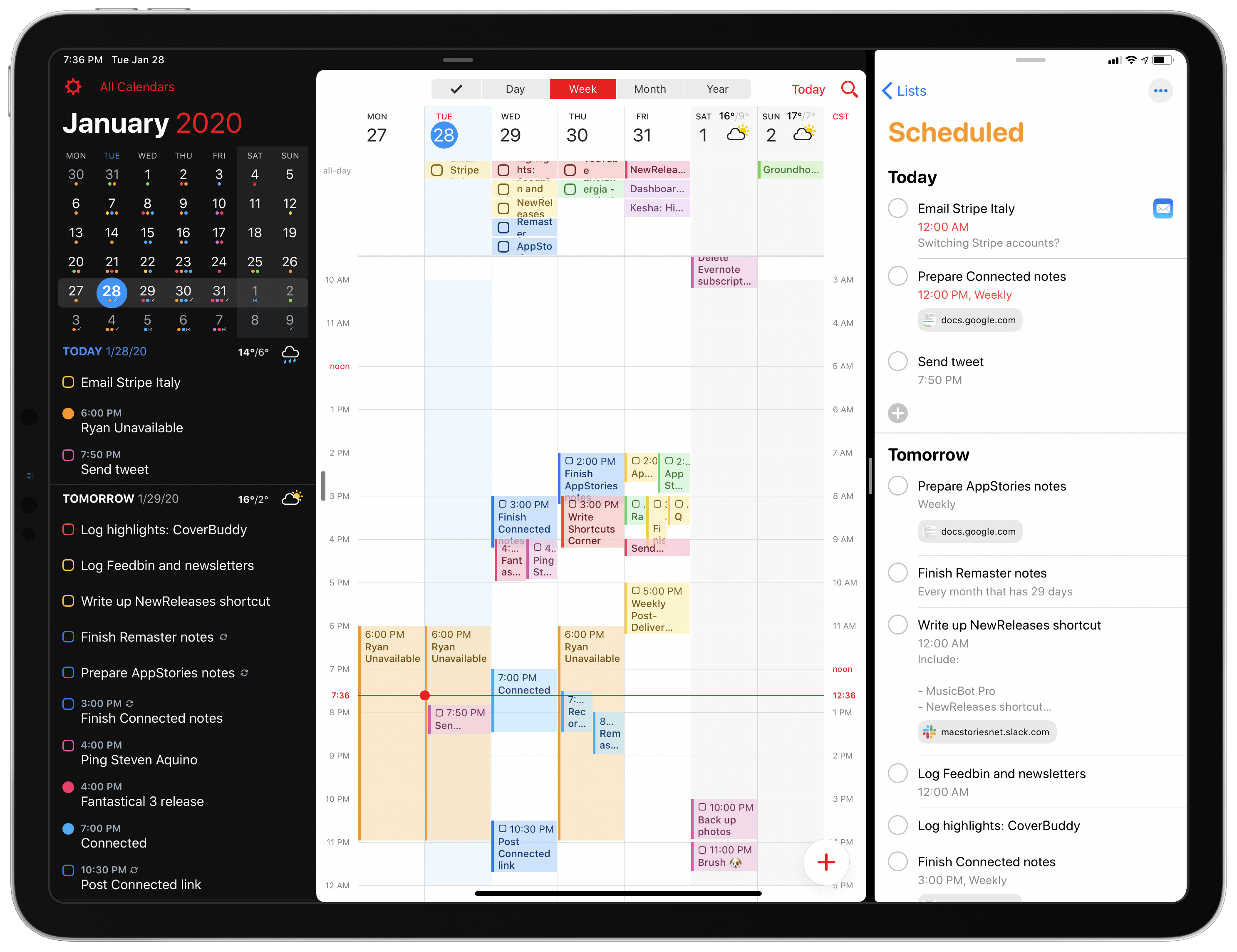 My task management/calendar setup with Fantastical and Reminders in Split View.
