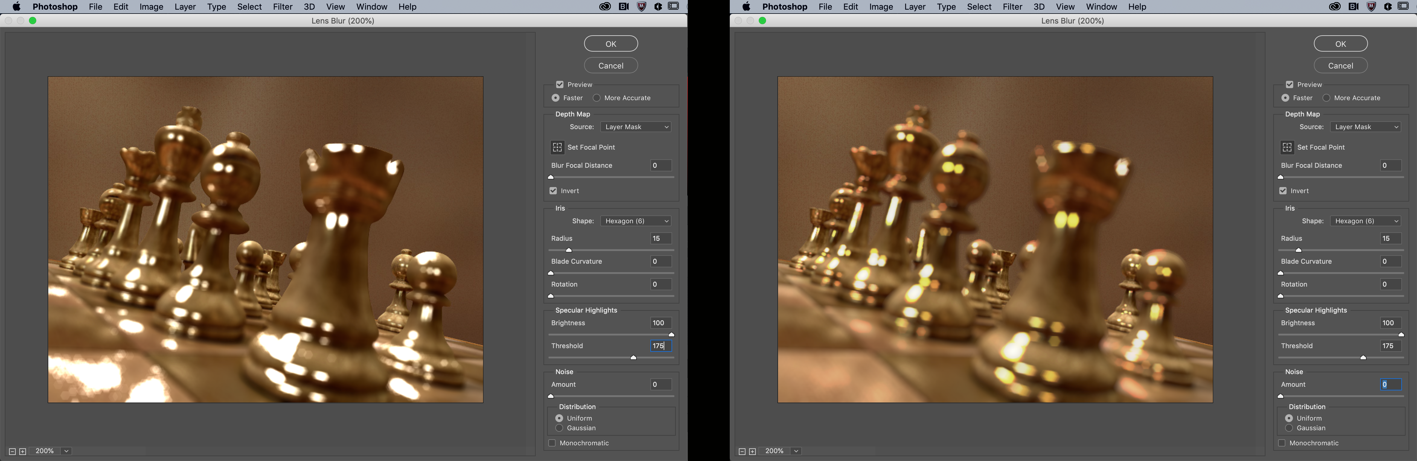 The old version of Lens Blur (left) and the new version (right). Source: Adobe.