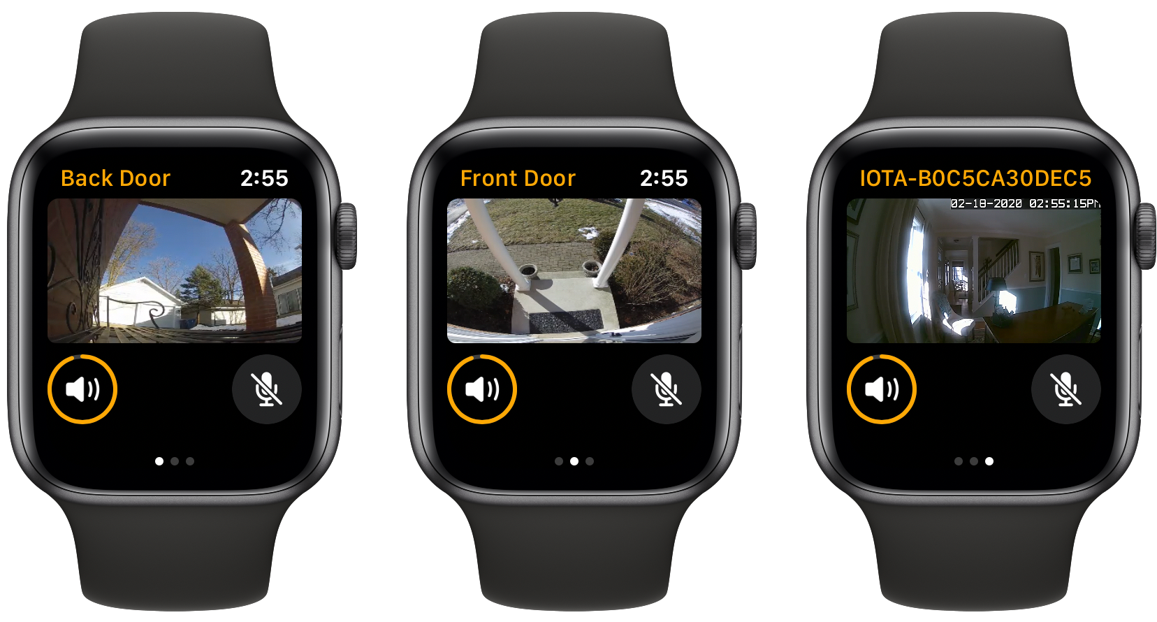 The HomeCam Watch app.