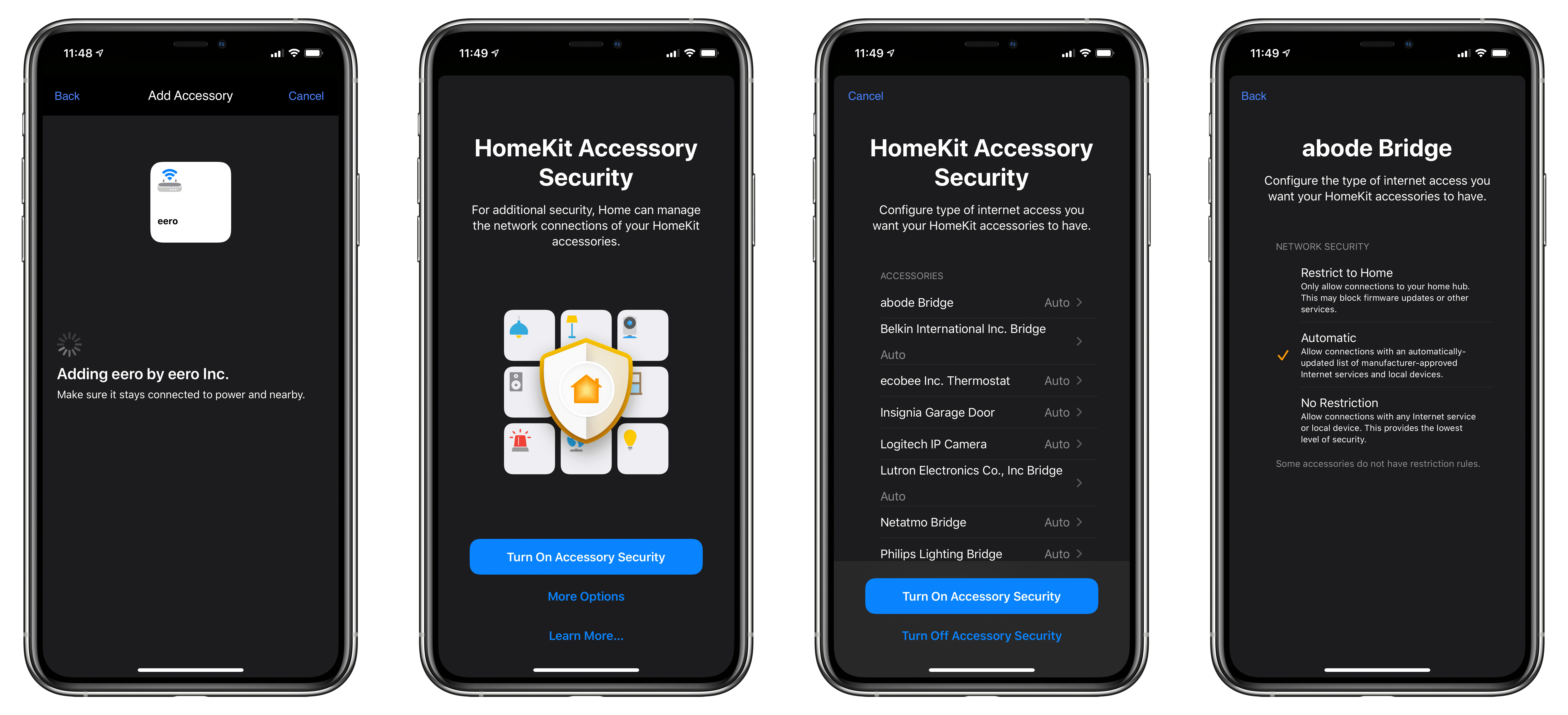Setting up security for HomeKit devices.