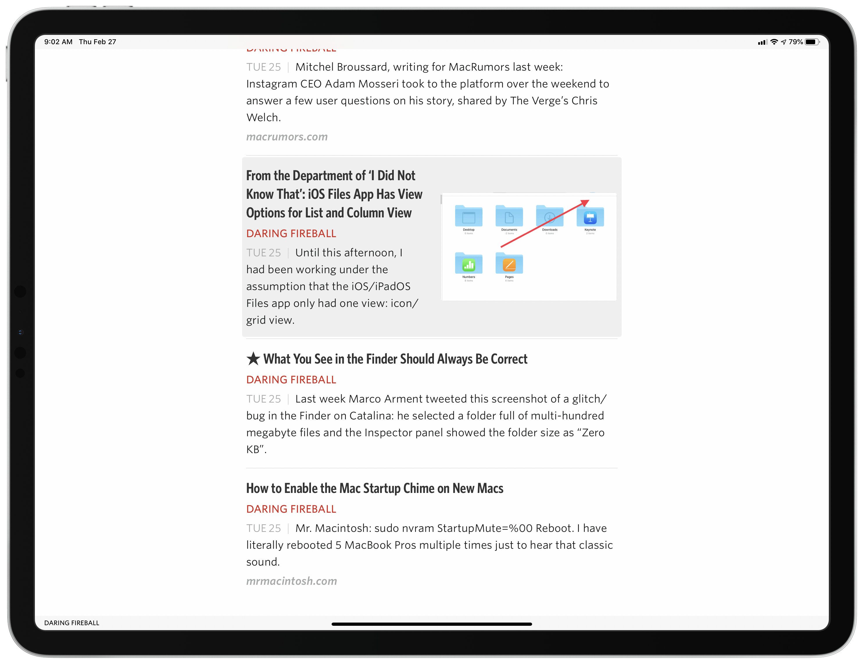 Articles are highlighted as you navigate them via keyboard.