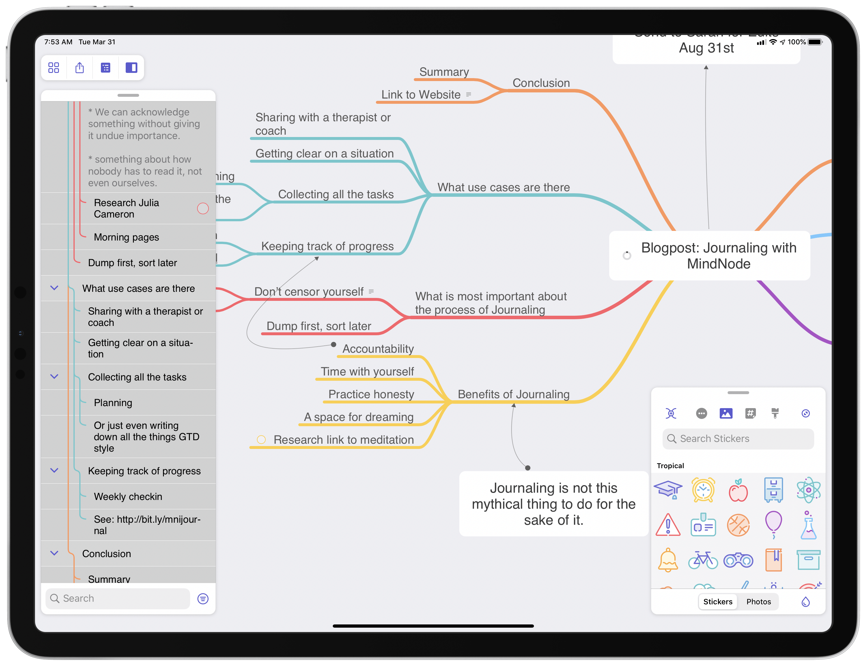 MindNode was the first iPad app to implement multiple modular panels.