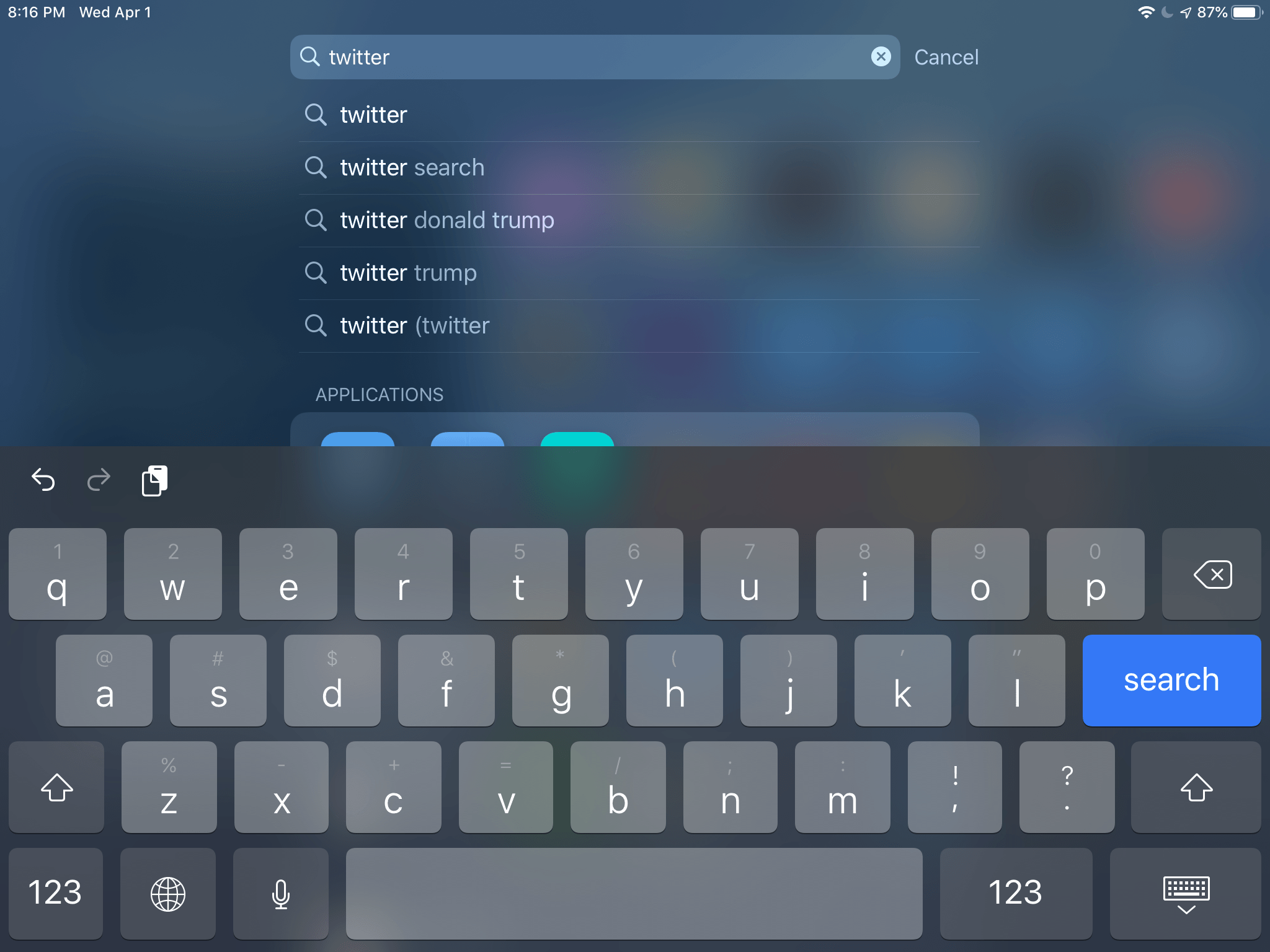 Searching for an app using the software keyboard in landscape mode is problematic on the mini.