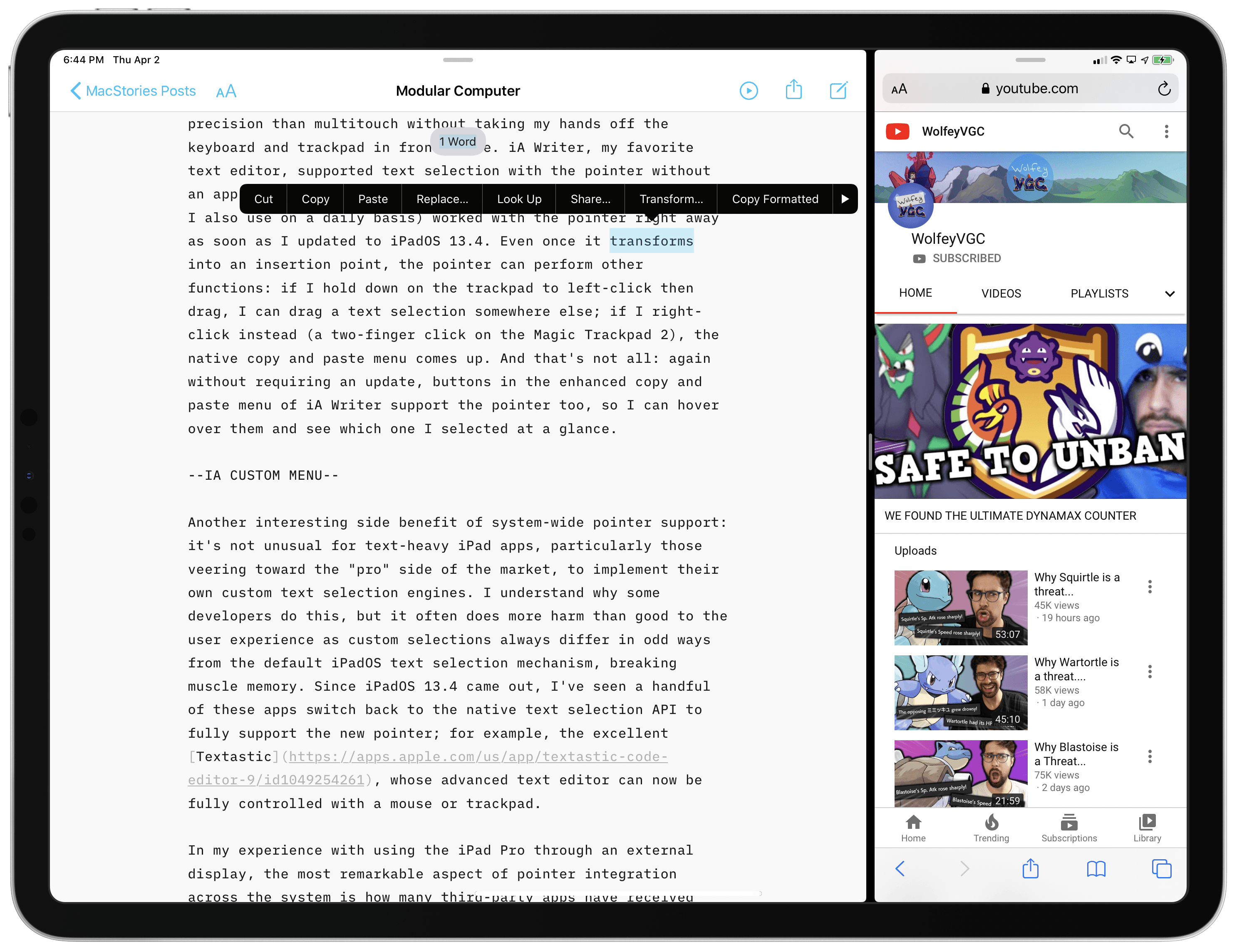 iA Writer's enhanced copy and paste menu works with the pointer out of the box, just like other standard UIKit elements in the app.