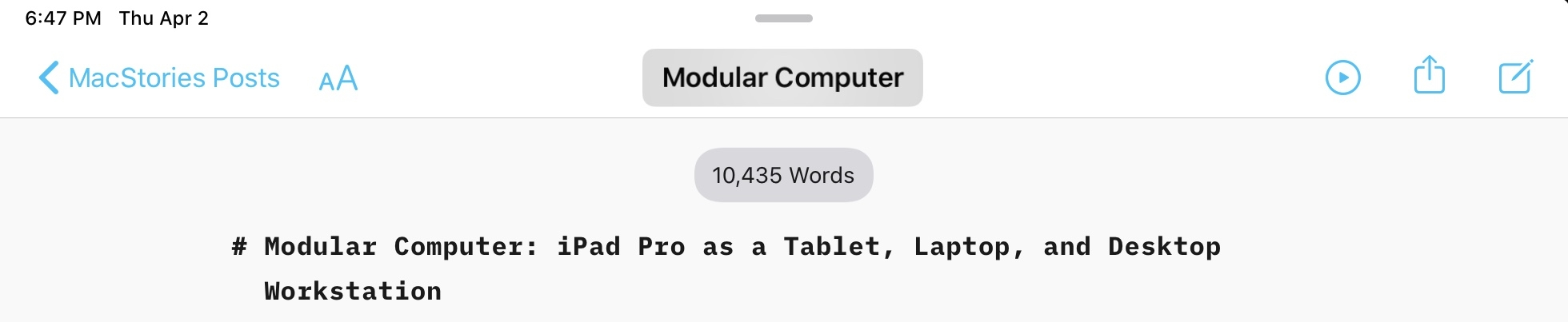 The upcoming version of iA Writer for iPad will let you click the document's name in the title bar to rename it. I want this pointer interaction in every app now.