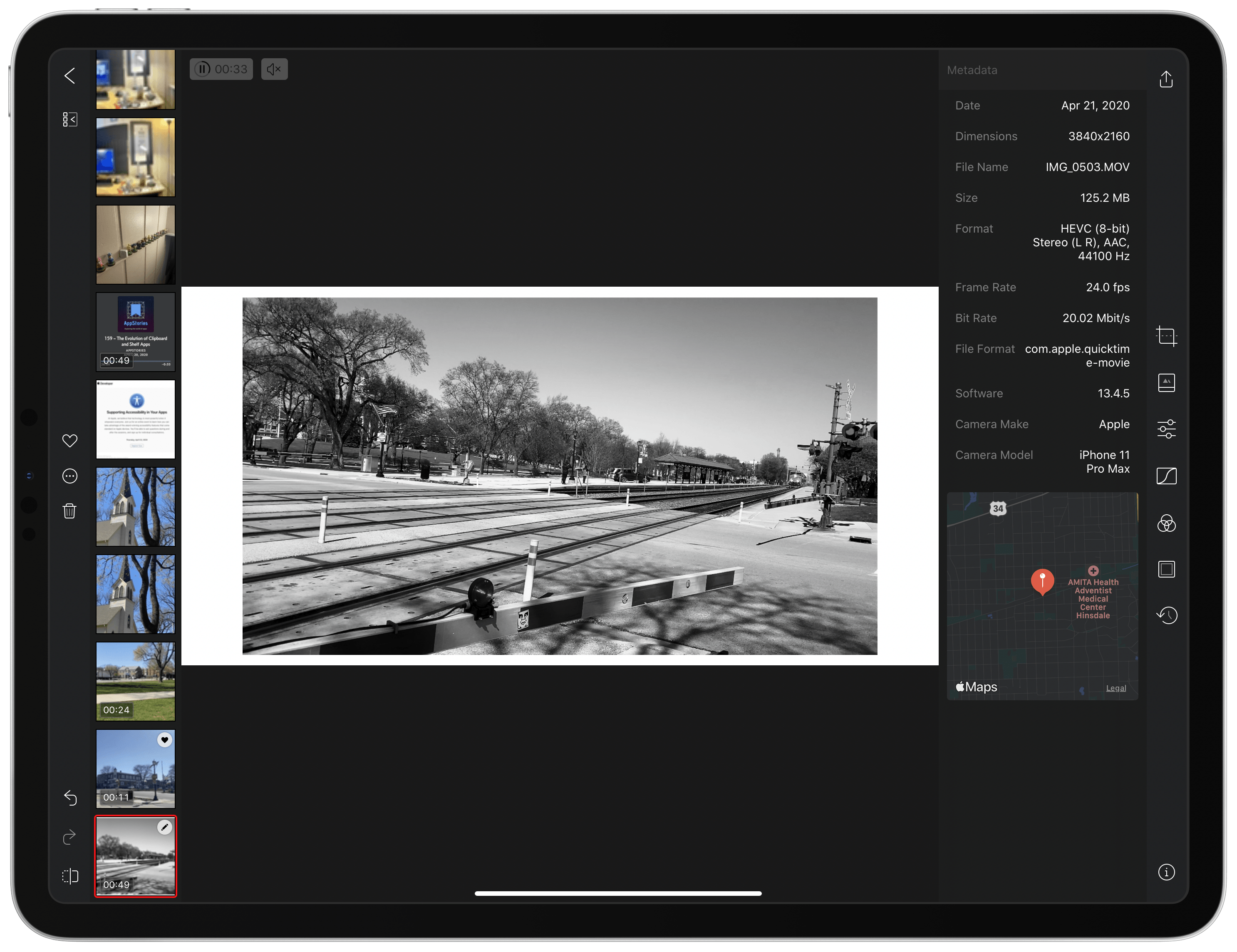 All of Darkroom's editing tools and filters available for photos are available for videos too.