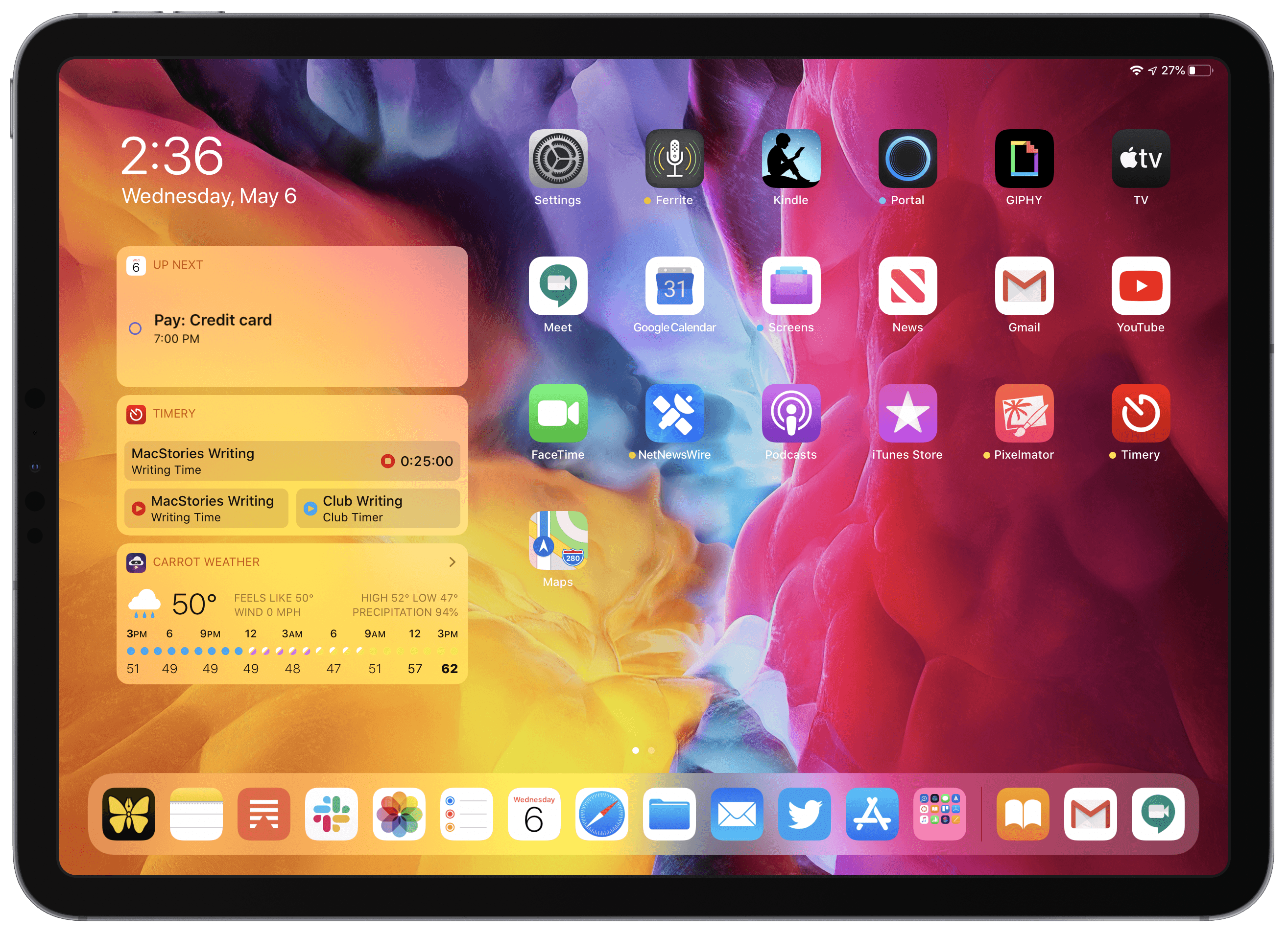 The 11-inch Home screen has a couple limitations.