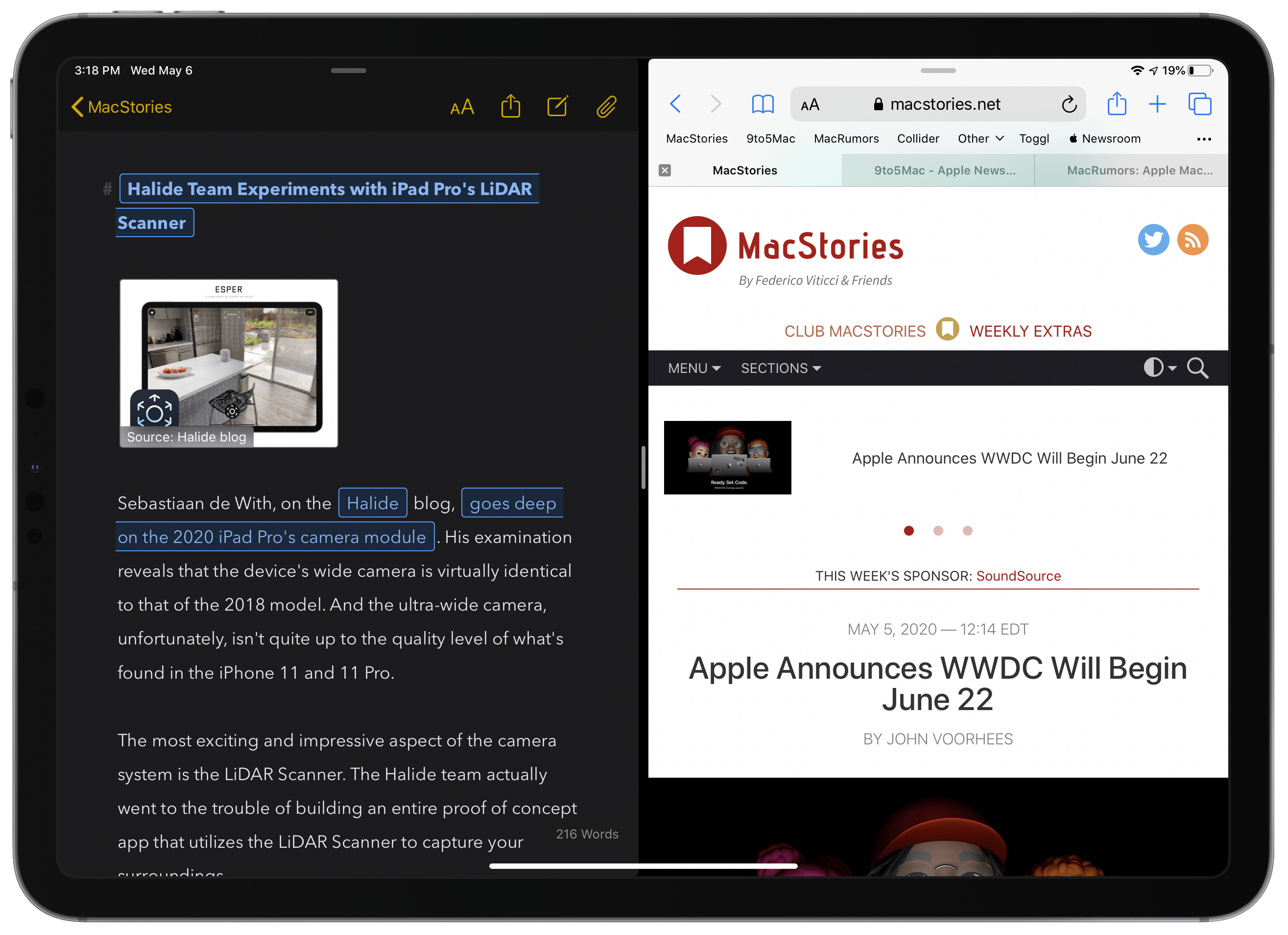 Safari in Split View retains tabs, despite using a compact layout.