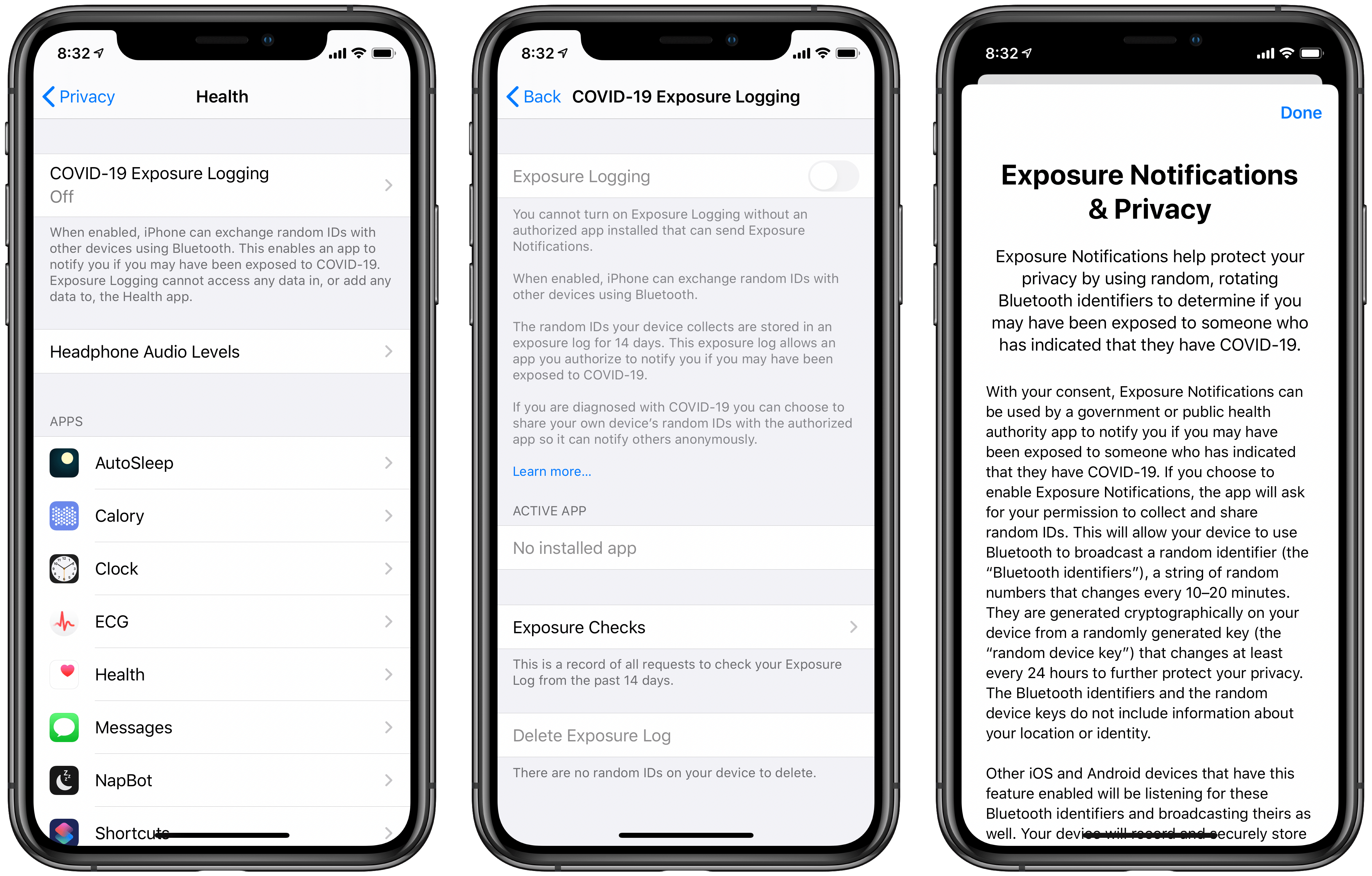 Exposure Logging in the Settings app.