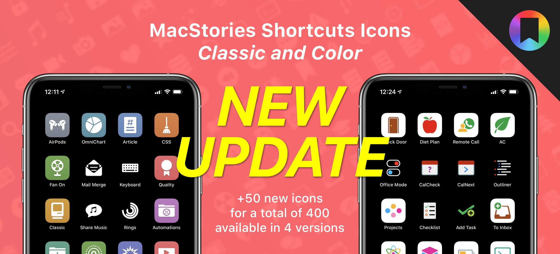 Some of the new icons included in the latest MacStories Shortcuts Icons update.
